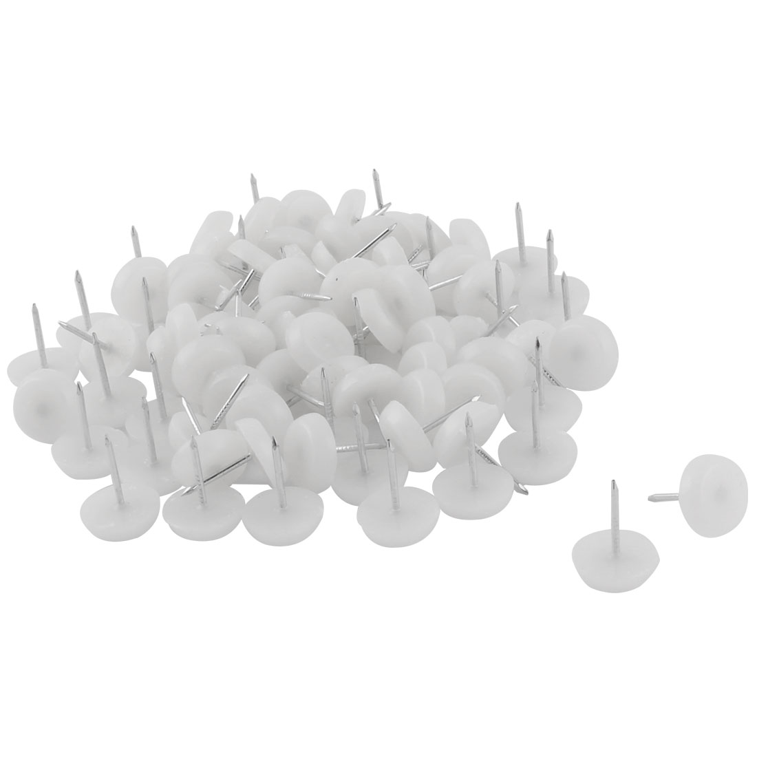 Furniture Chair Plastic Leg Feet Protector Non-slip Nails White 1.3cm Dia 80pcs