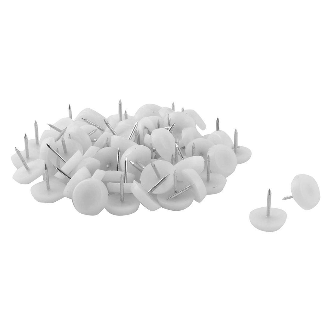 Furniture Chair Table Plastic Leg Feet Protector Non-slip Nails White 17mm Dia 80pcs