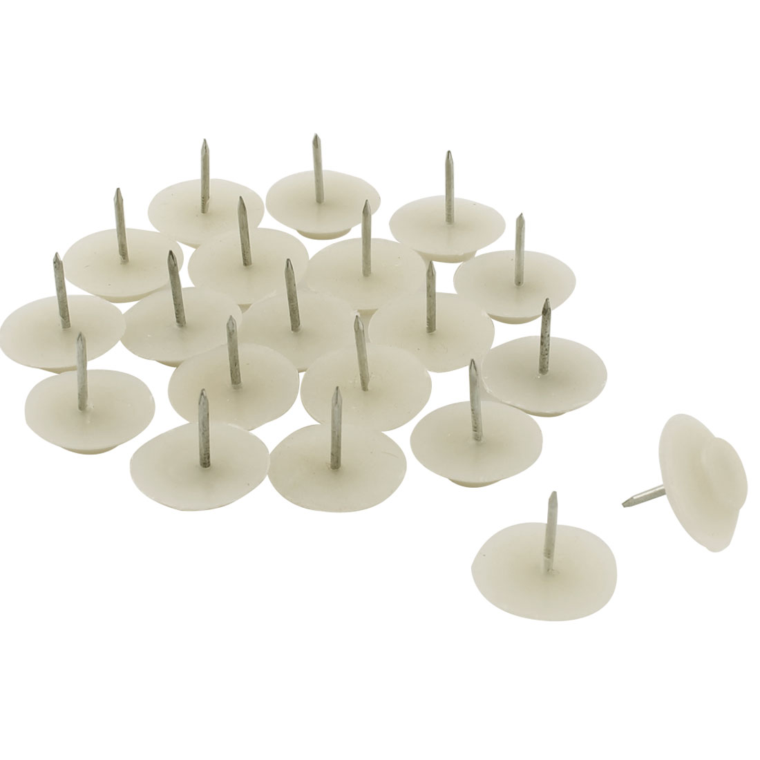 Furniture Chair Table Plastic Non-slip Floor Protector Nails Beige 1.8cm Dia 20pcs