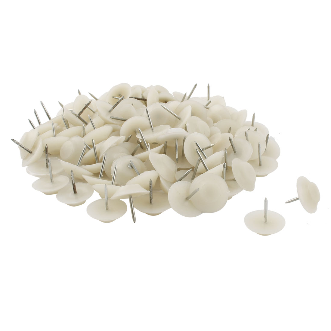 Furniture Chair Table Plastic Non-slip Floor Protector Nails Beige 1.8cm Dia 100pcs