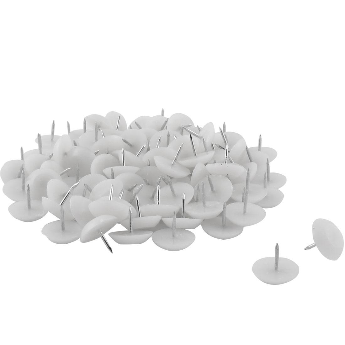 Furniture Chair Table Plastic Leg Feet Protector Non-slip Nails White 2cm Dia 100pcs