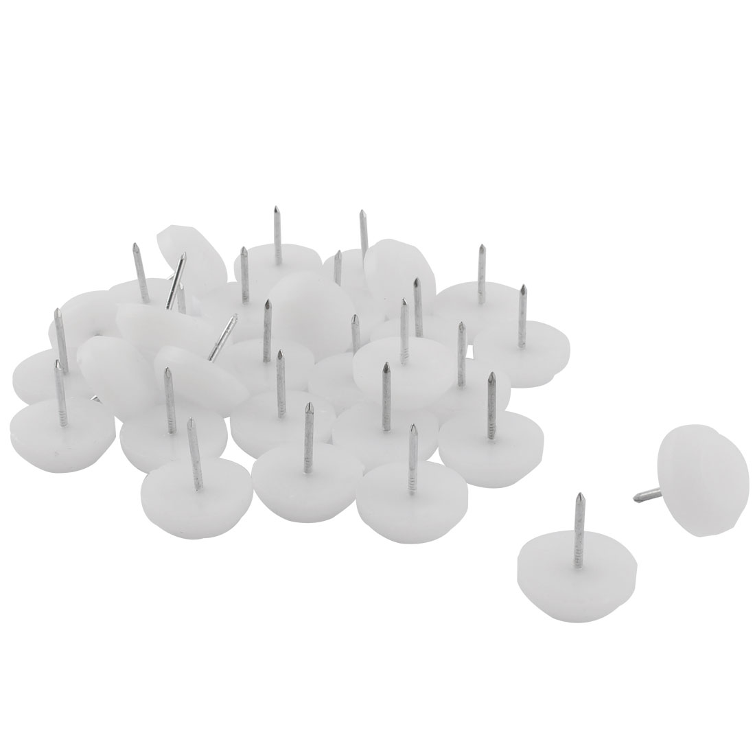 Furniture Table Chair Plastic Base Leg Floor Protector Nails Pad White 2.3cm Dia 30pcs