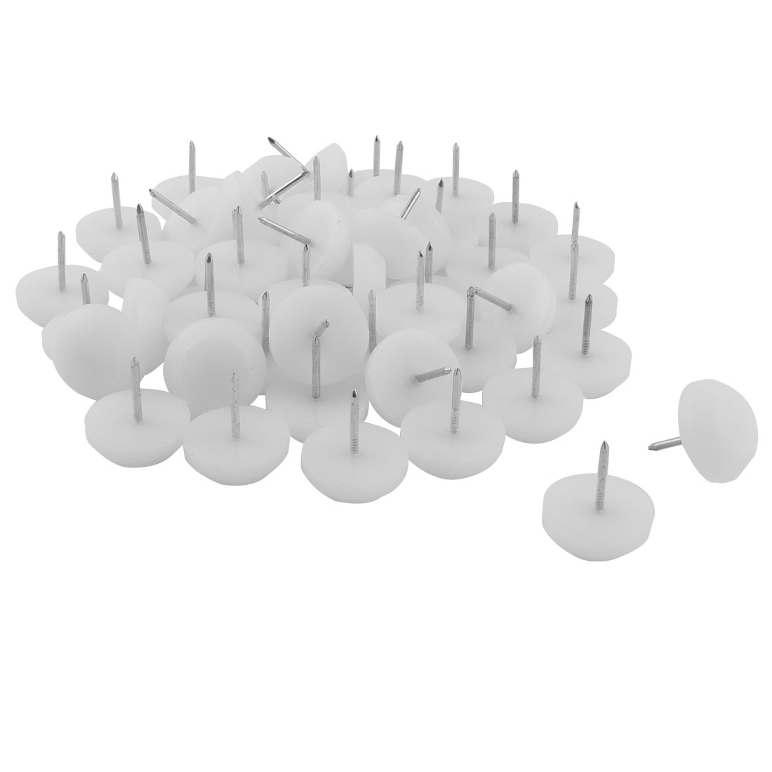 Furniture Table Chair Plastic Base Leg Floor Protector Nails Pad White 2.3cm Dia 50pcs