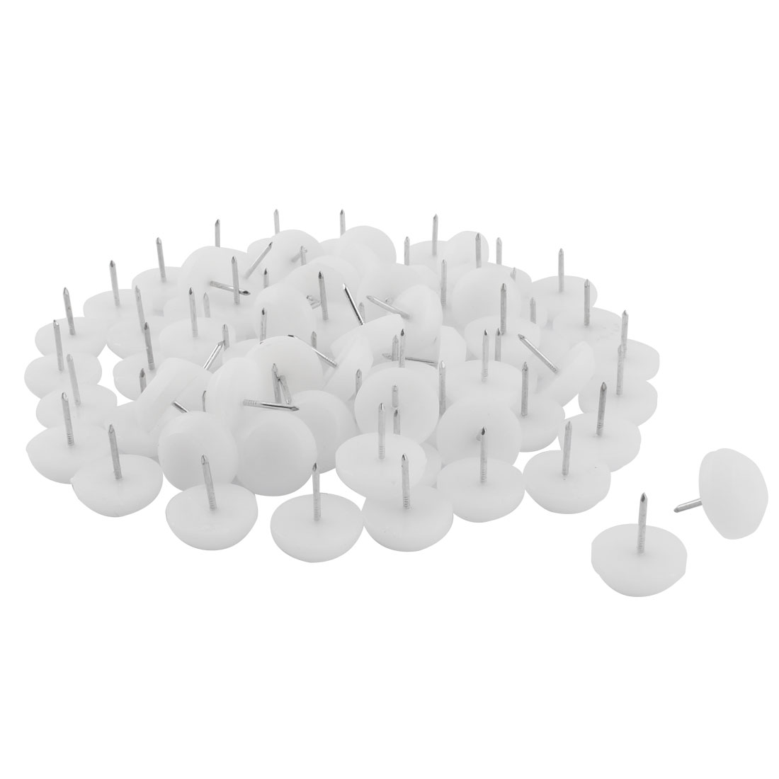 Furniture Table Chair Plastic Base Leg Floor Protector Nails Pad White 2.3cm Dia 80pcs
