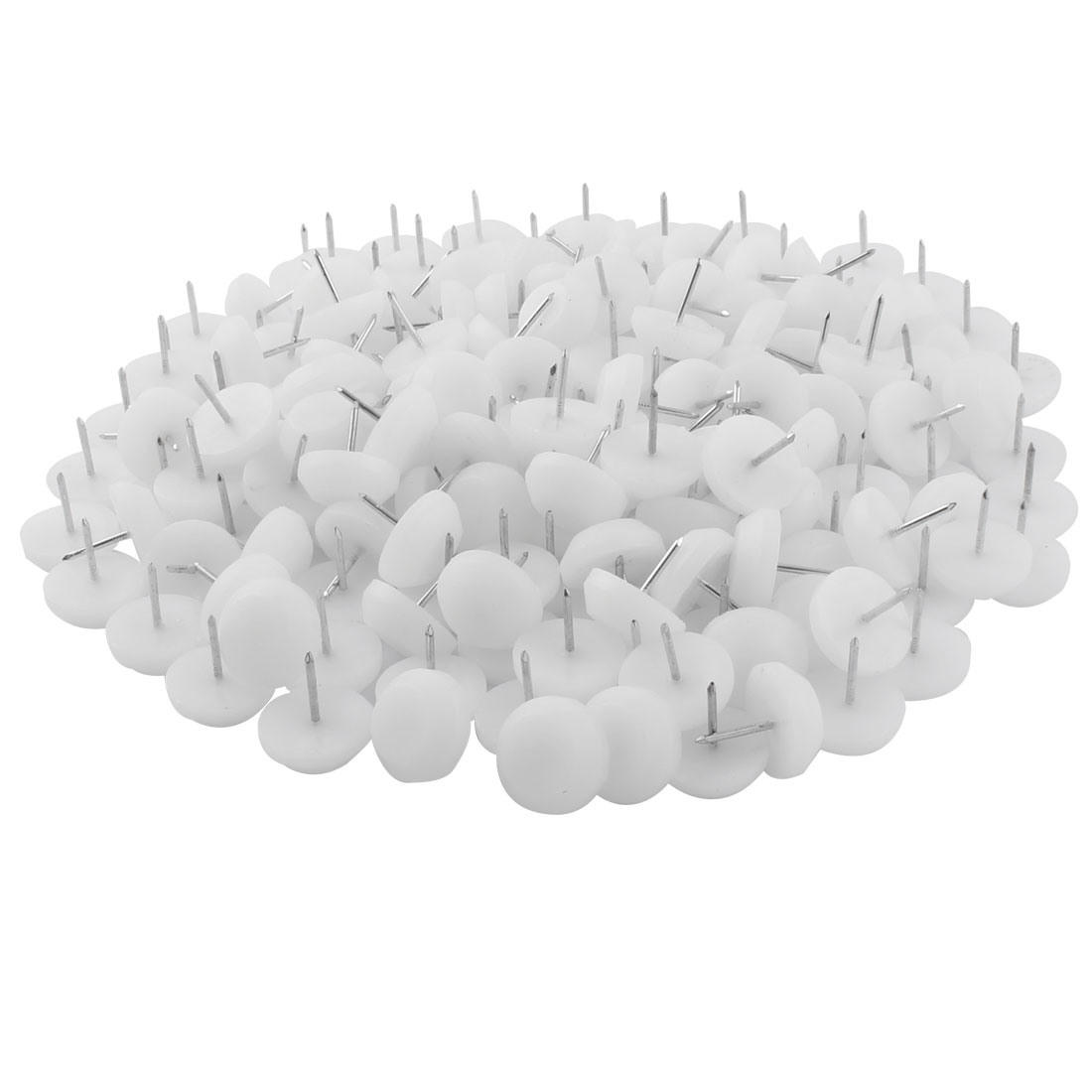 Furniture Table Chair Plastic Base Leg Floor Protector Nails Pad White 2.3cm Dia 200pcs