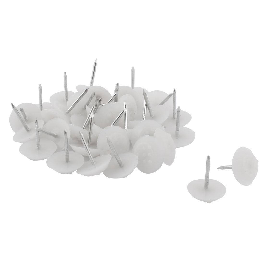 Furniture Chair Plastic Leg Feet Protector Non-slip Nails White 1.4cm Dia 30pcs