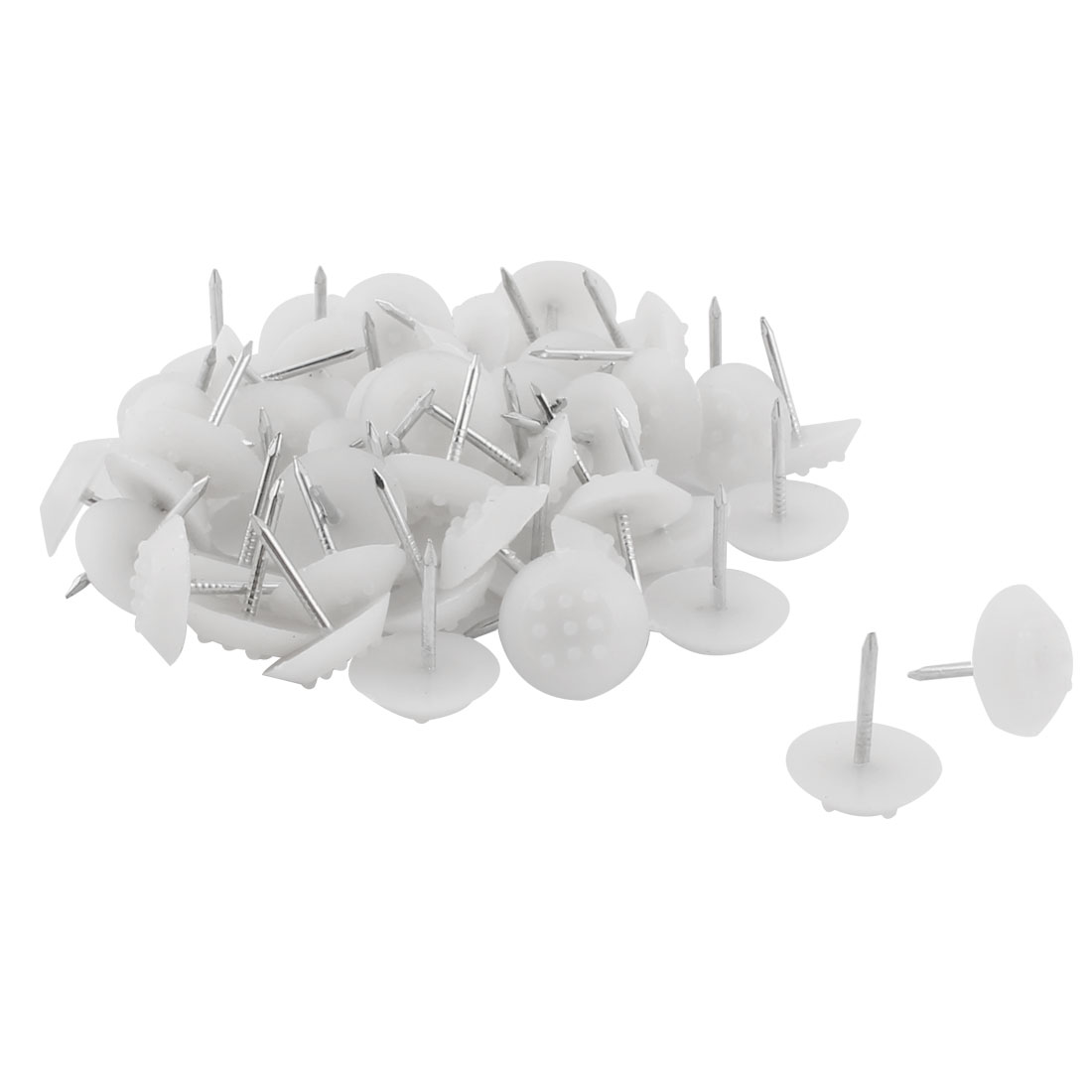 Furniture Chair Plastic Leg Feet Protector Non-slip Nails White 1.4cm Dia 50pcs