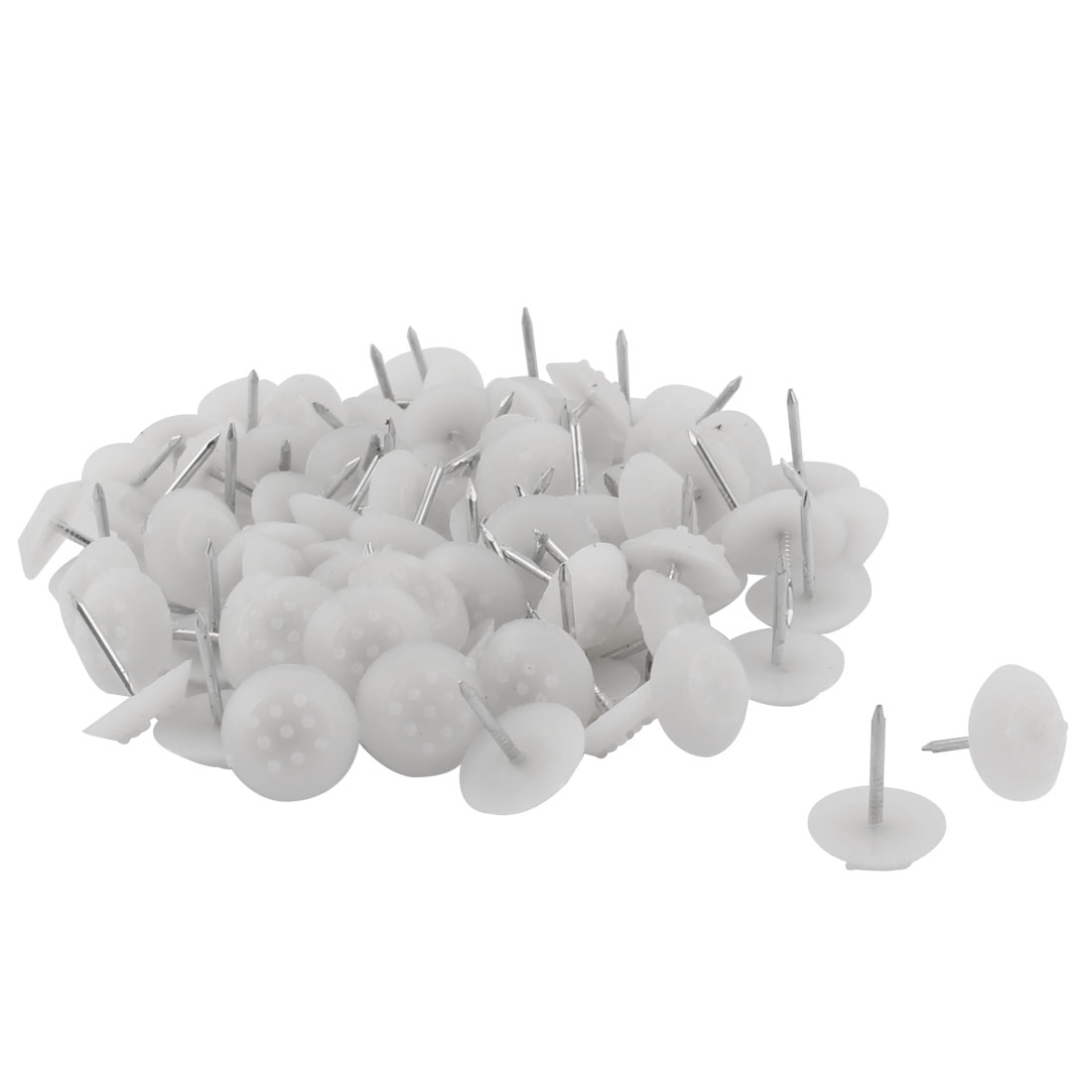 Furniture Chair Plastic Leg Feet Protector Non-slip Nails White 1.4cm Dia 80pcs