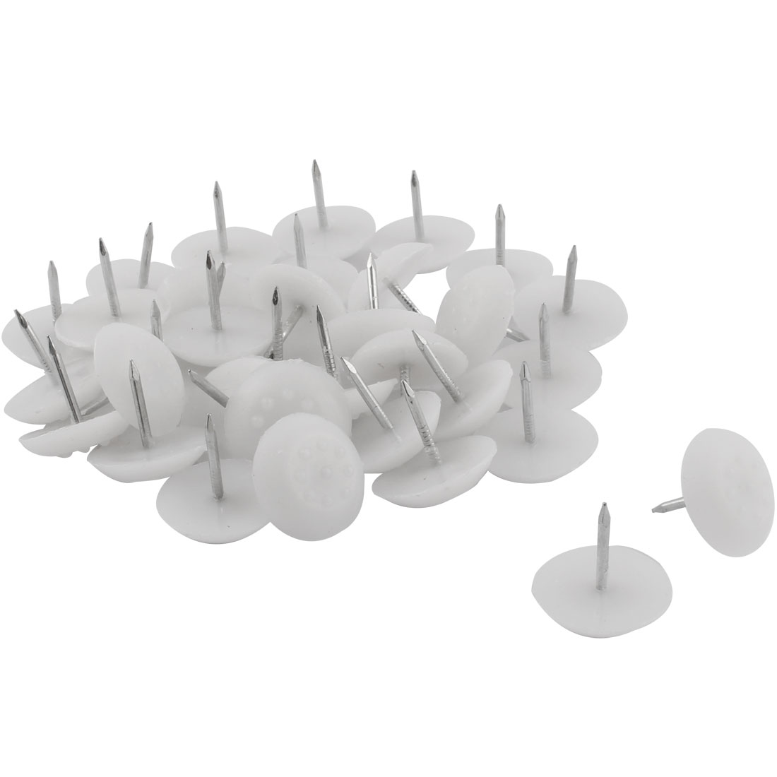 Furniture Table Chair Plastic Base Leg Floor Protector Nails Pad White 2.1cm Dia 30pcs