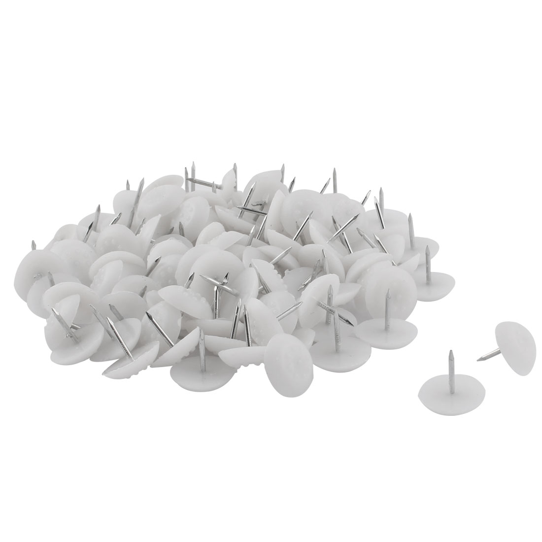 Furniture Table Chair Plastic Base Leg Floor Protector Nails Pad White 2.1cm Dia 100pcs
