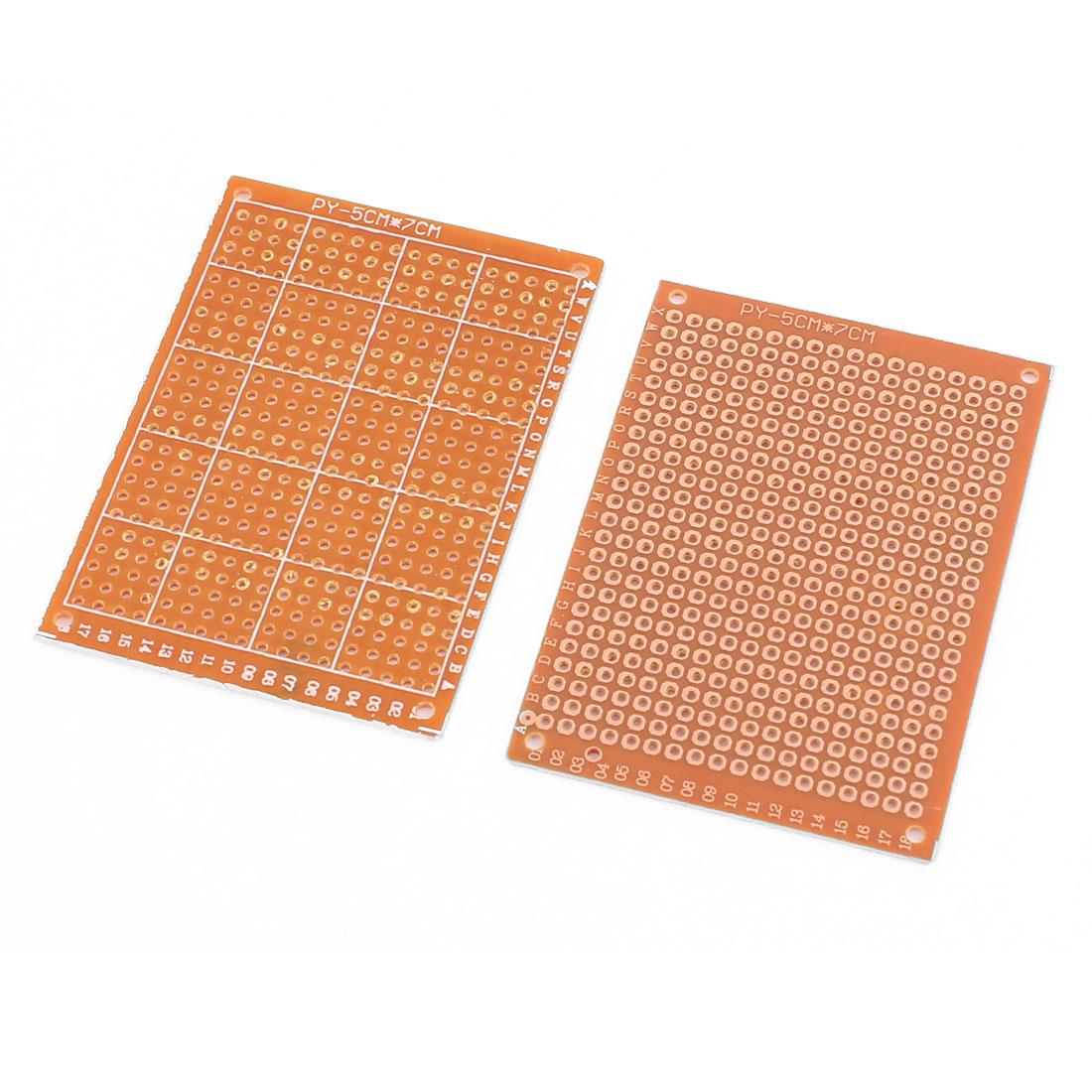 2Pcs 5x7cm Prototype Single Side PCB Universal Experiment Matrix Circuit Board