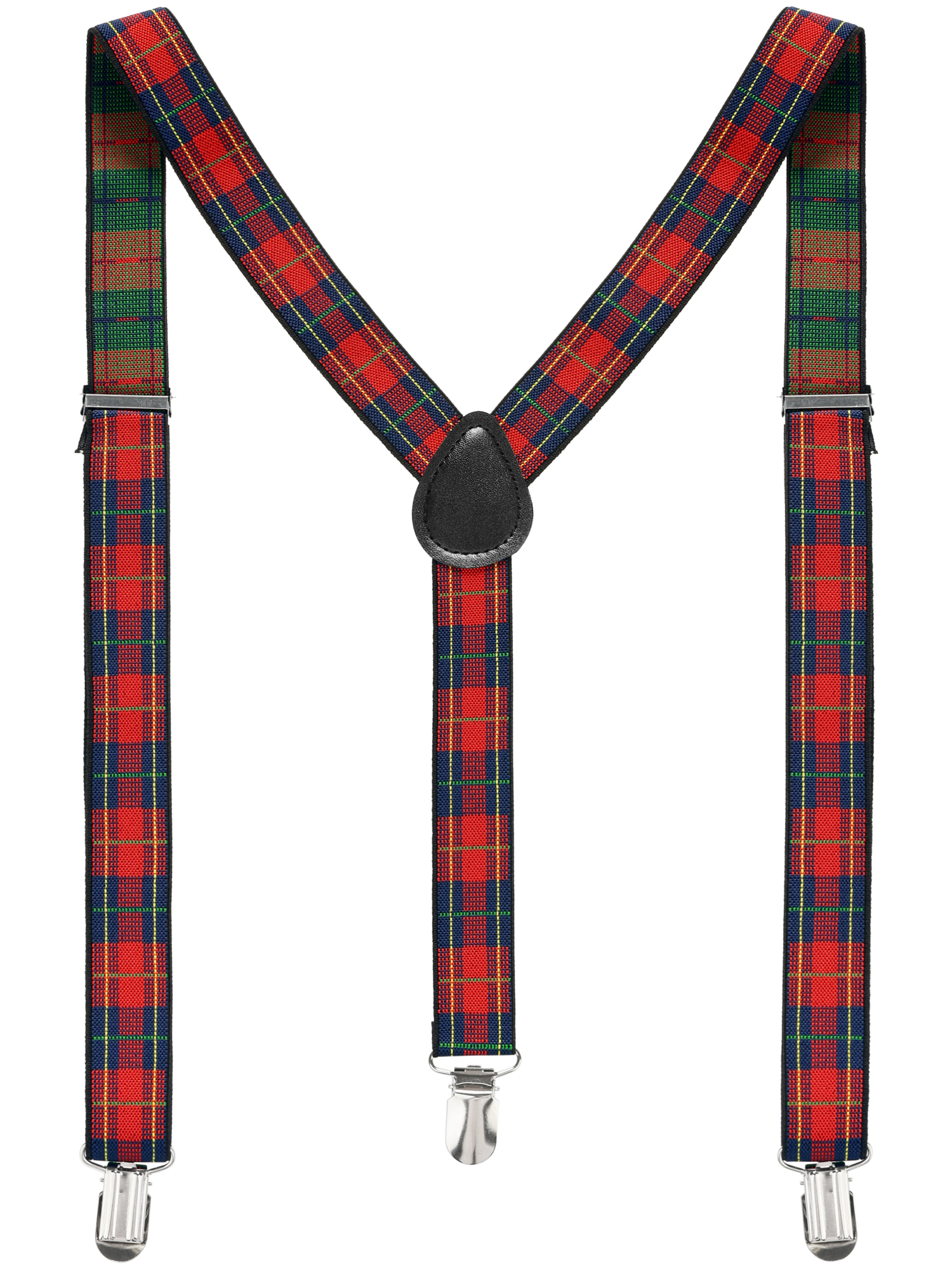Unisex Elastic Y Shape Adjustable Plaids Suspenders Red