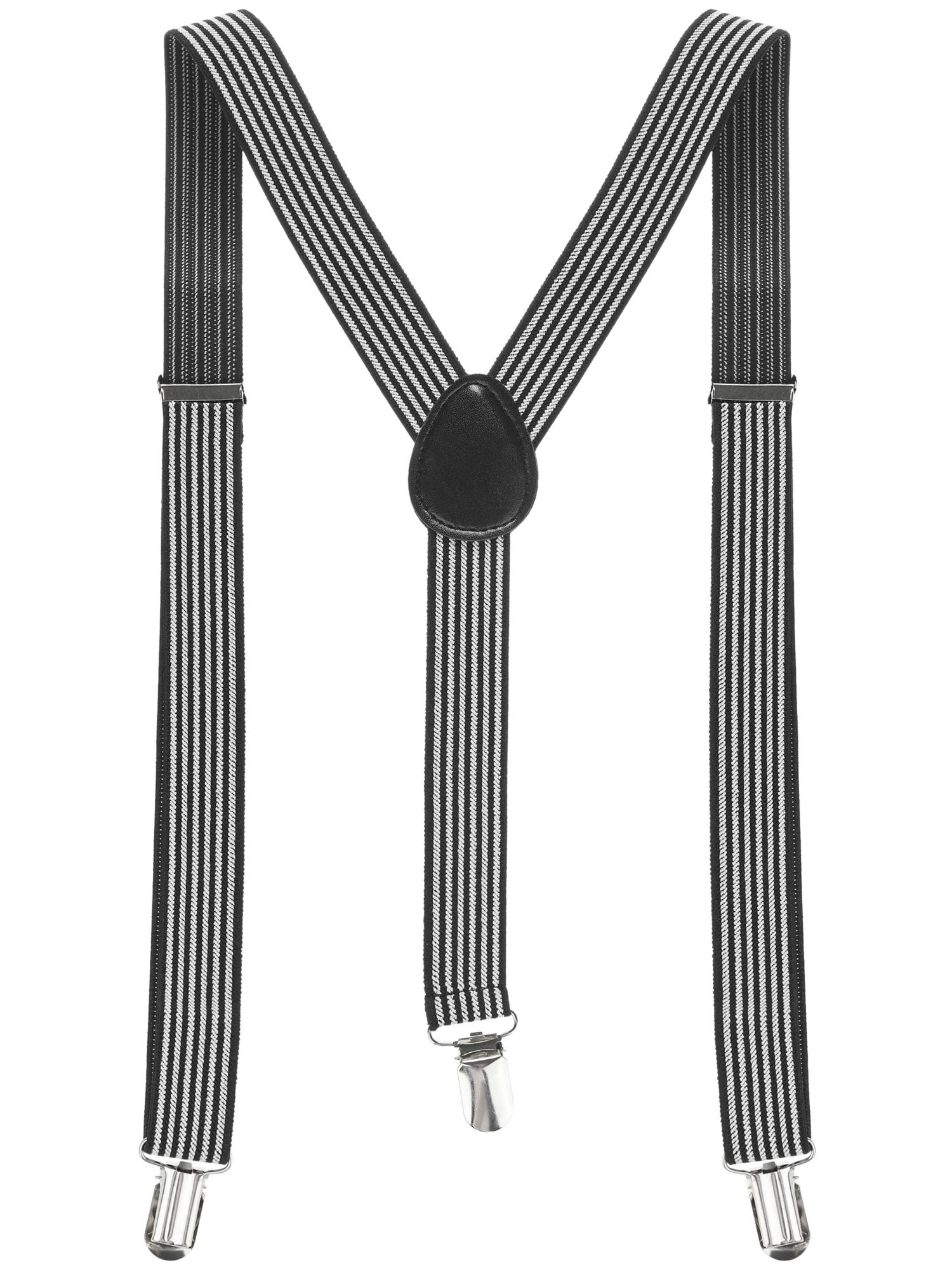 Unisex Stripes Pattern Clip On Y Shape Suspenders Black