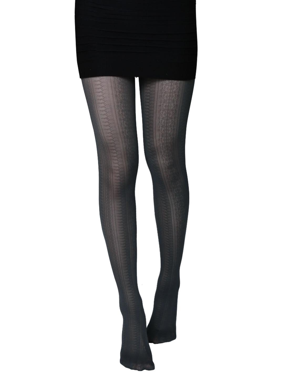 Women Novelty Geometric Pattern Stretchy Thin Pantyhose Gray XS