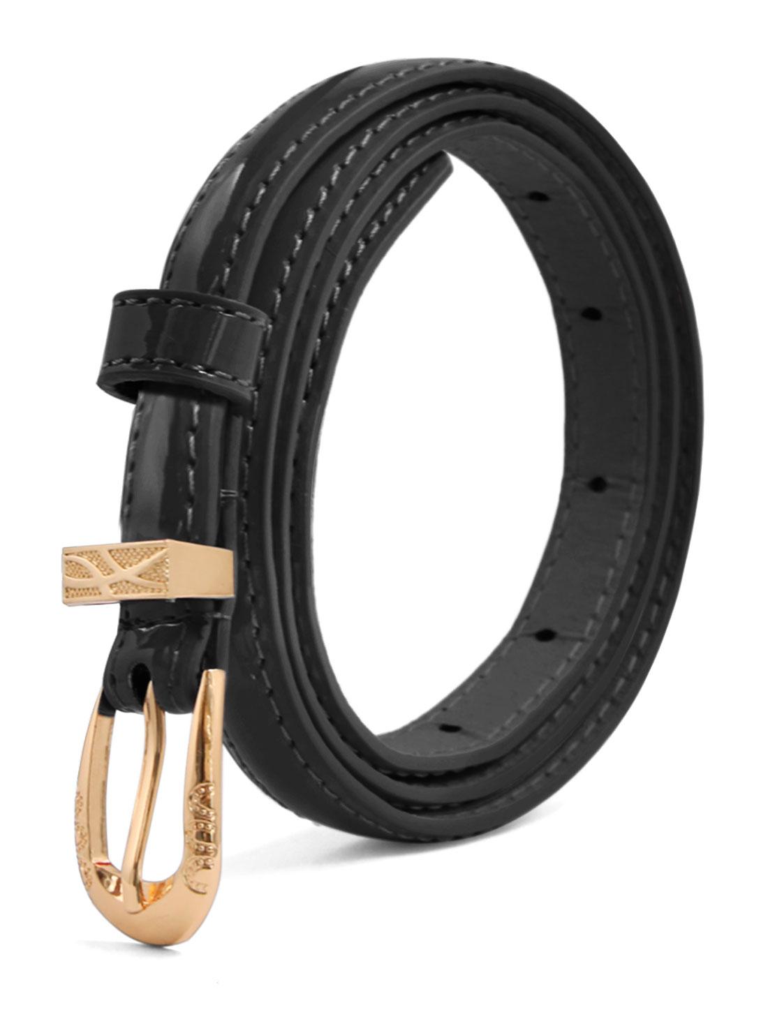 Women Single Pin Buckle Slim Patent PU Waist Belt Black