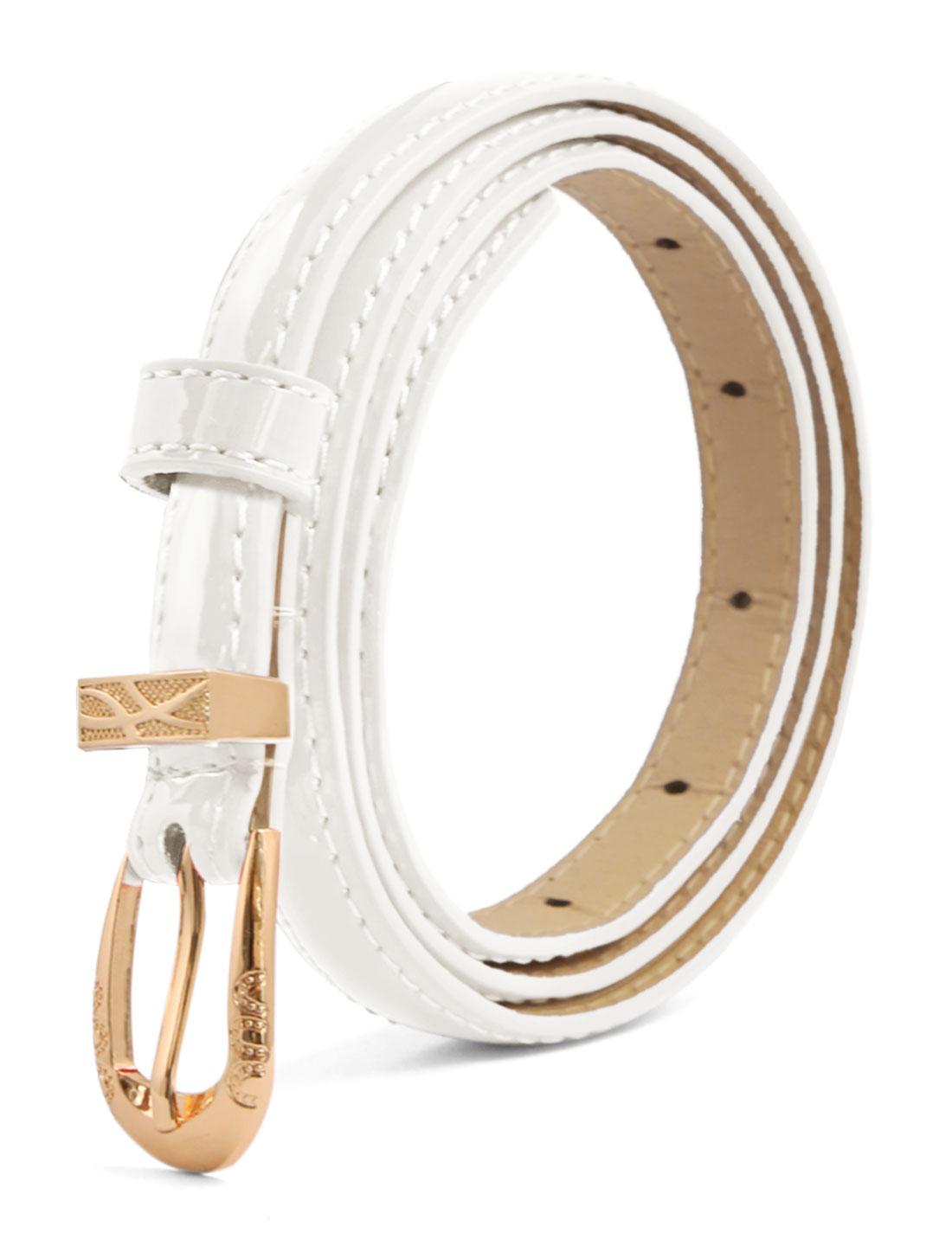 Women Single Pin Buckle Slim Patent PU Waist Belt White