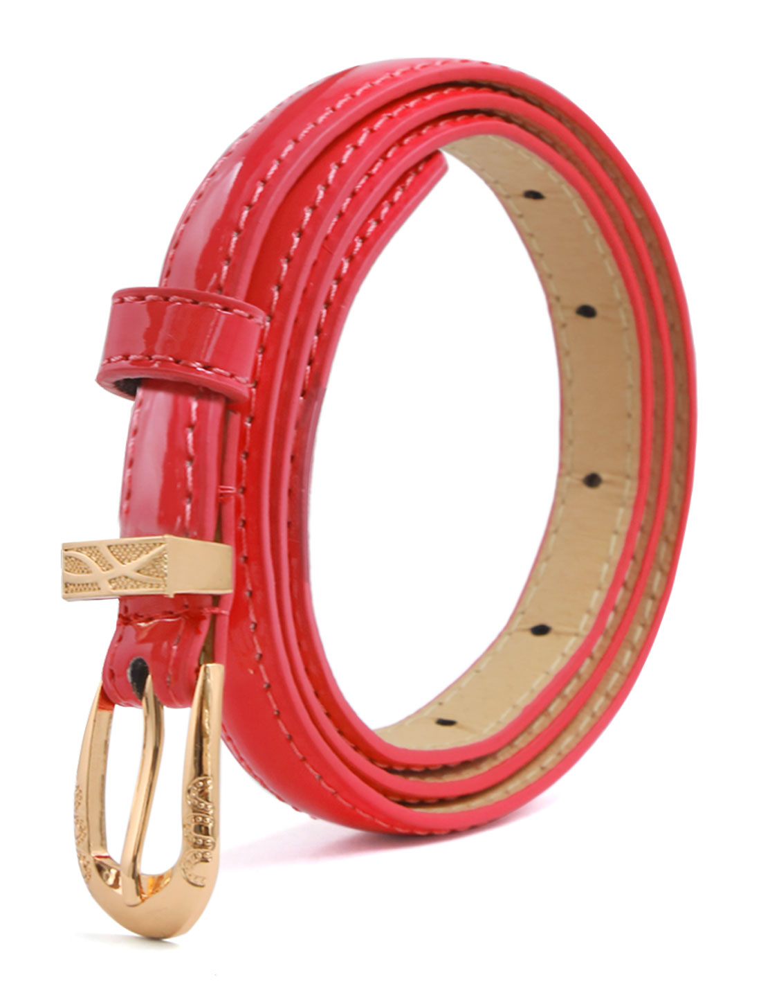 Women Single Pin Buckle Slim Patent PU Waist Belt Red