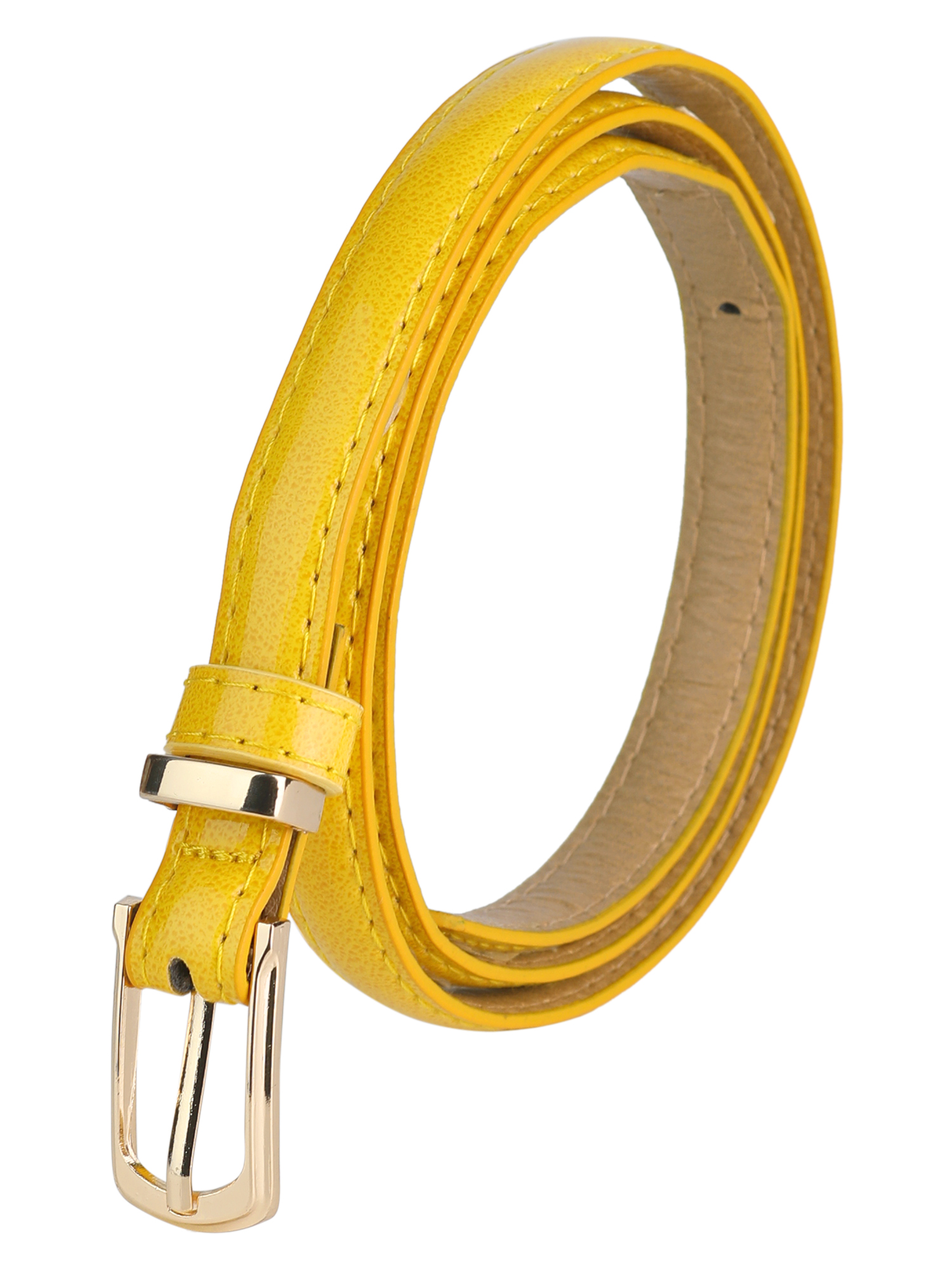 Women Single Pin Buckle Slim Patent PU Waist Belt Yellow