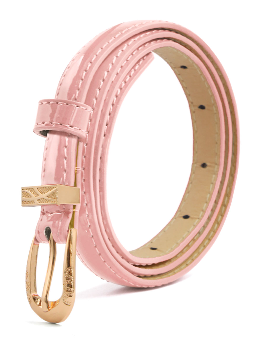 Women Single Pin Buckle Slim Patent PU Waist Belt Pink