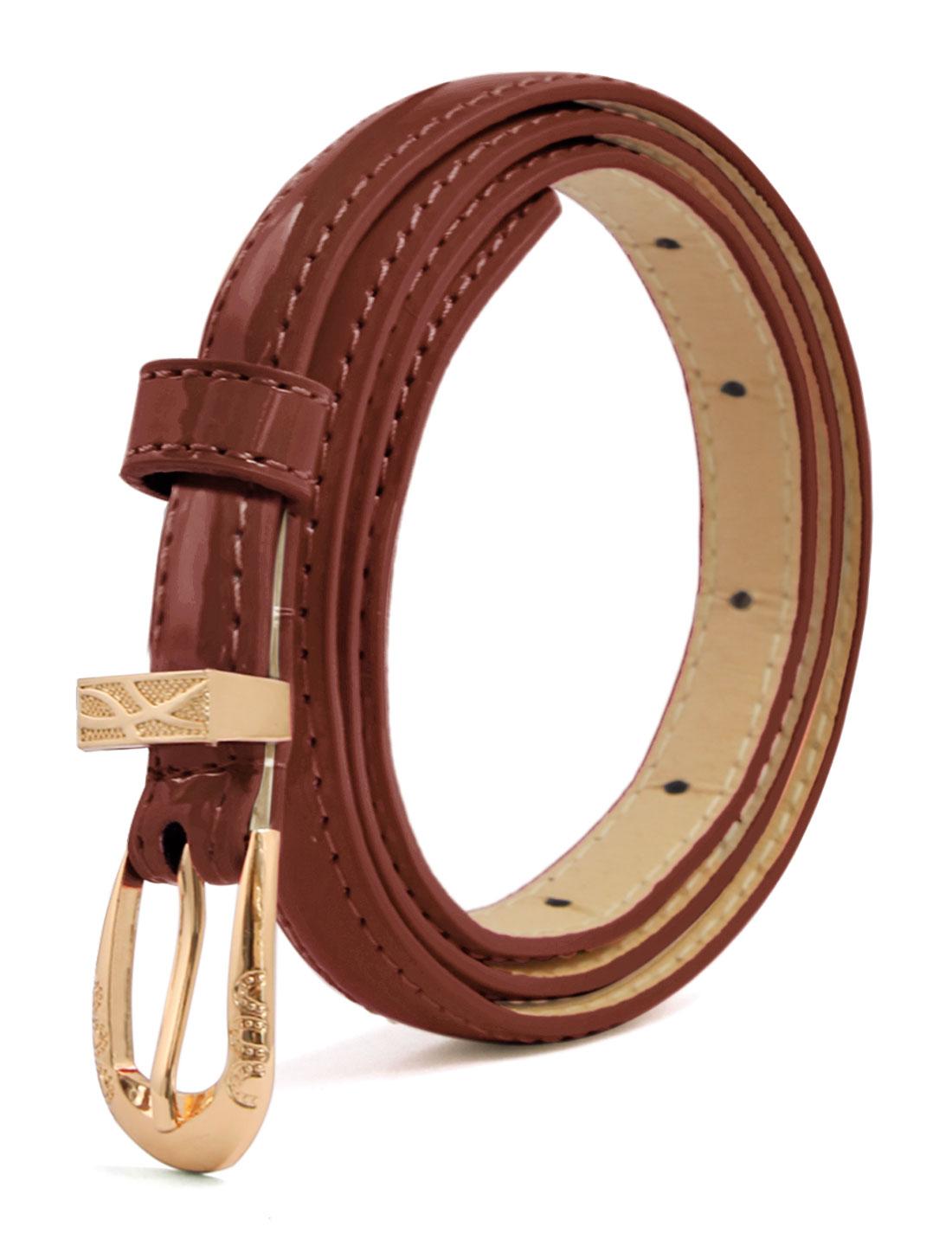 Women Single Pin Buckle Slim Patent PU Waist Belt Coffee