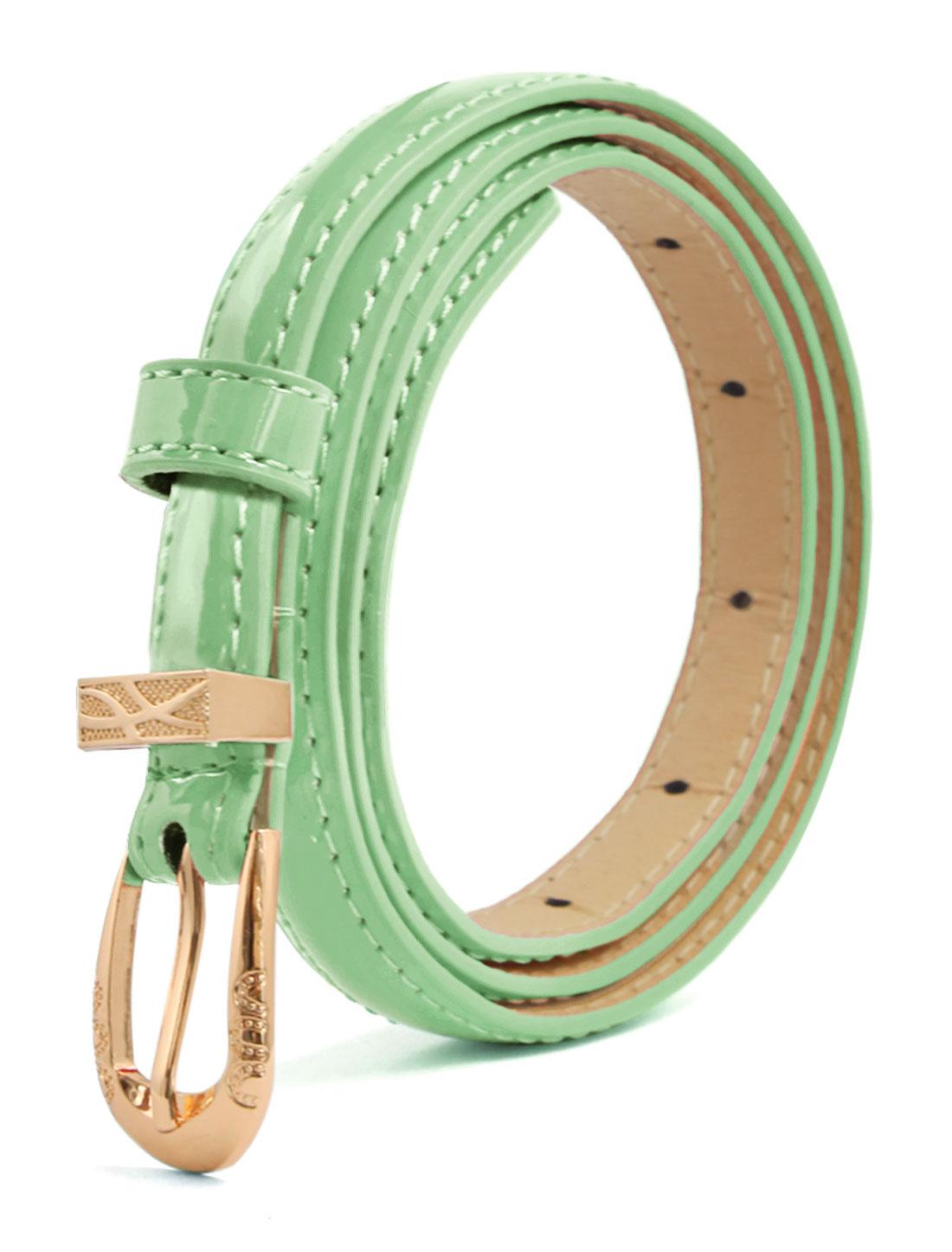 Women Single Pin Buckle Slim Patent PU Waist Belt Green