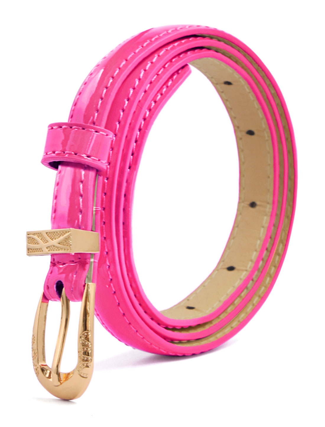 Women Single Pin Buckle Slim Patent PU Waist Belt Fuchsia