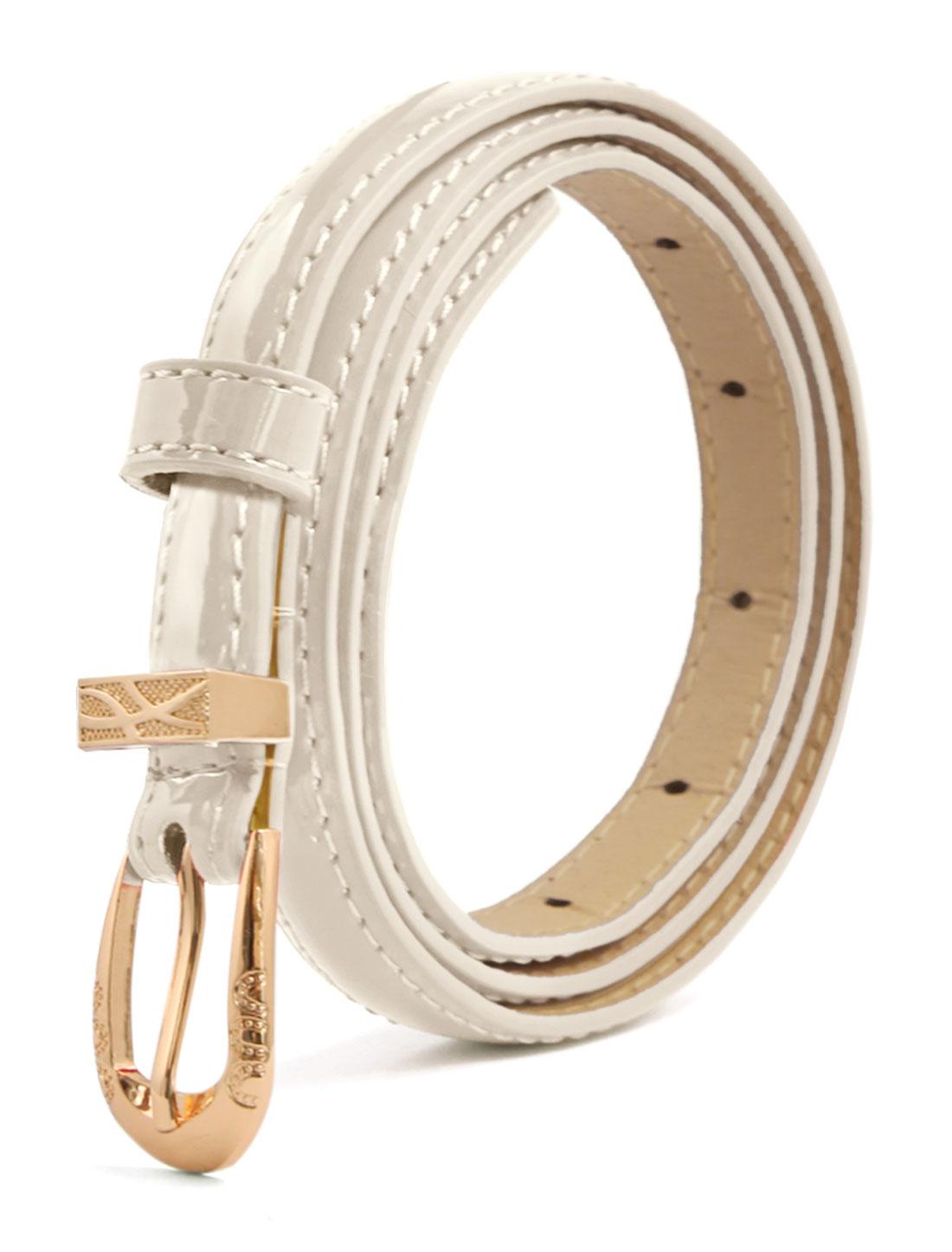 Women Single Pin Buckle Slim Patent PU Waist Belt Ivory