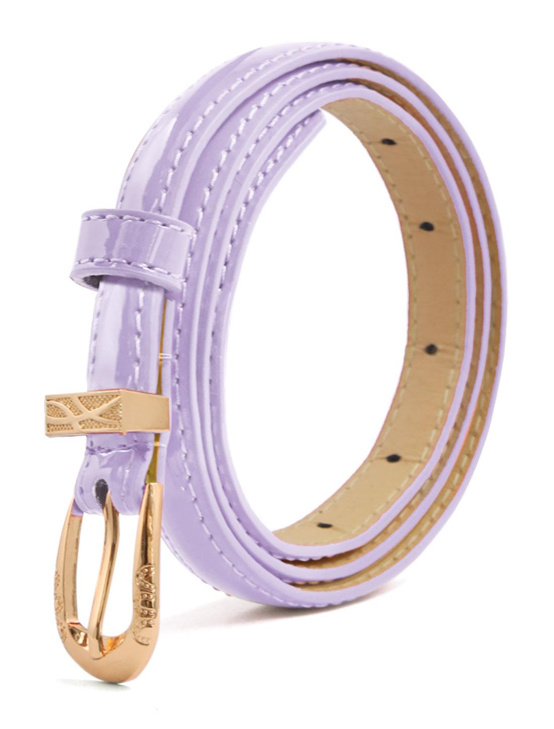 Women Single Pin Buckle Slim Patent PU Waist Belt Purple