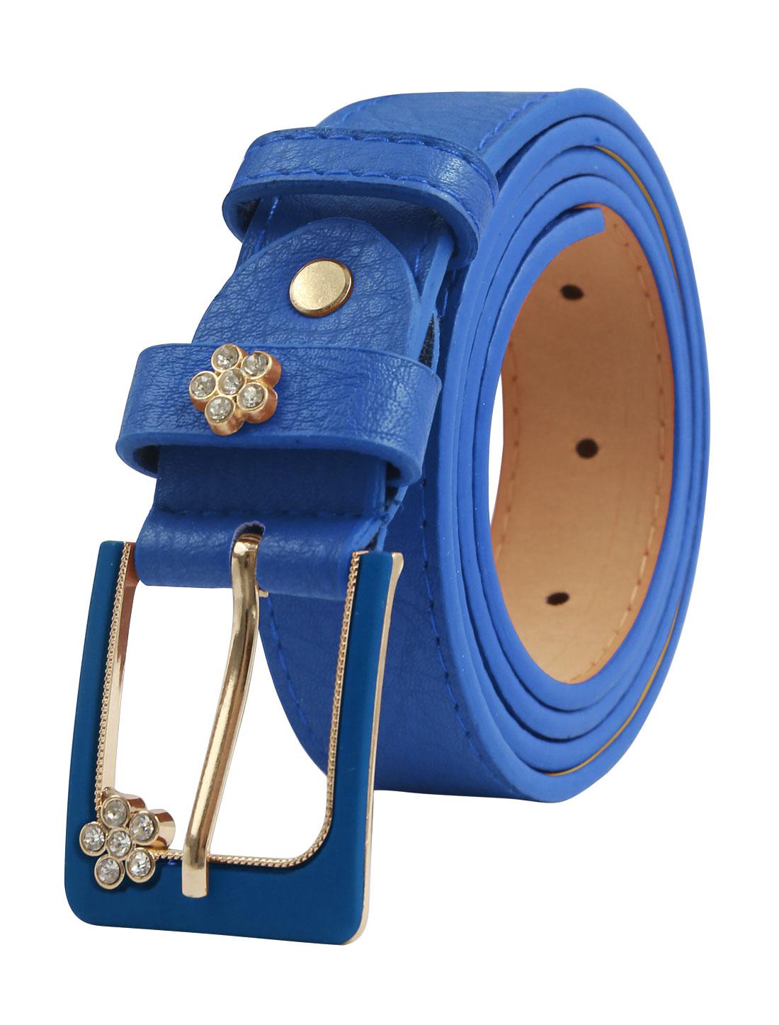 Women Floral Rhinestone Decor Single Prong PU Belt Blue