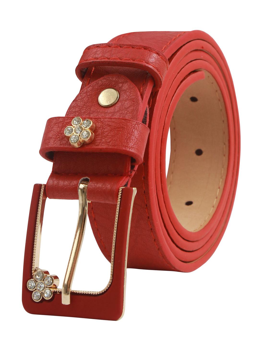 Women Floral Rhinestone Decor Single Prong PU Belt Red