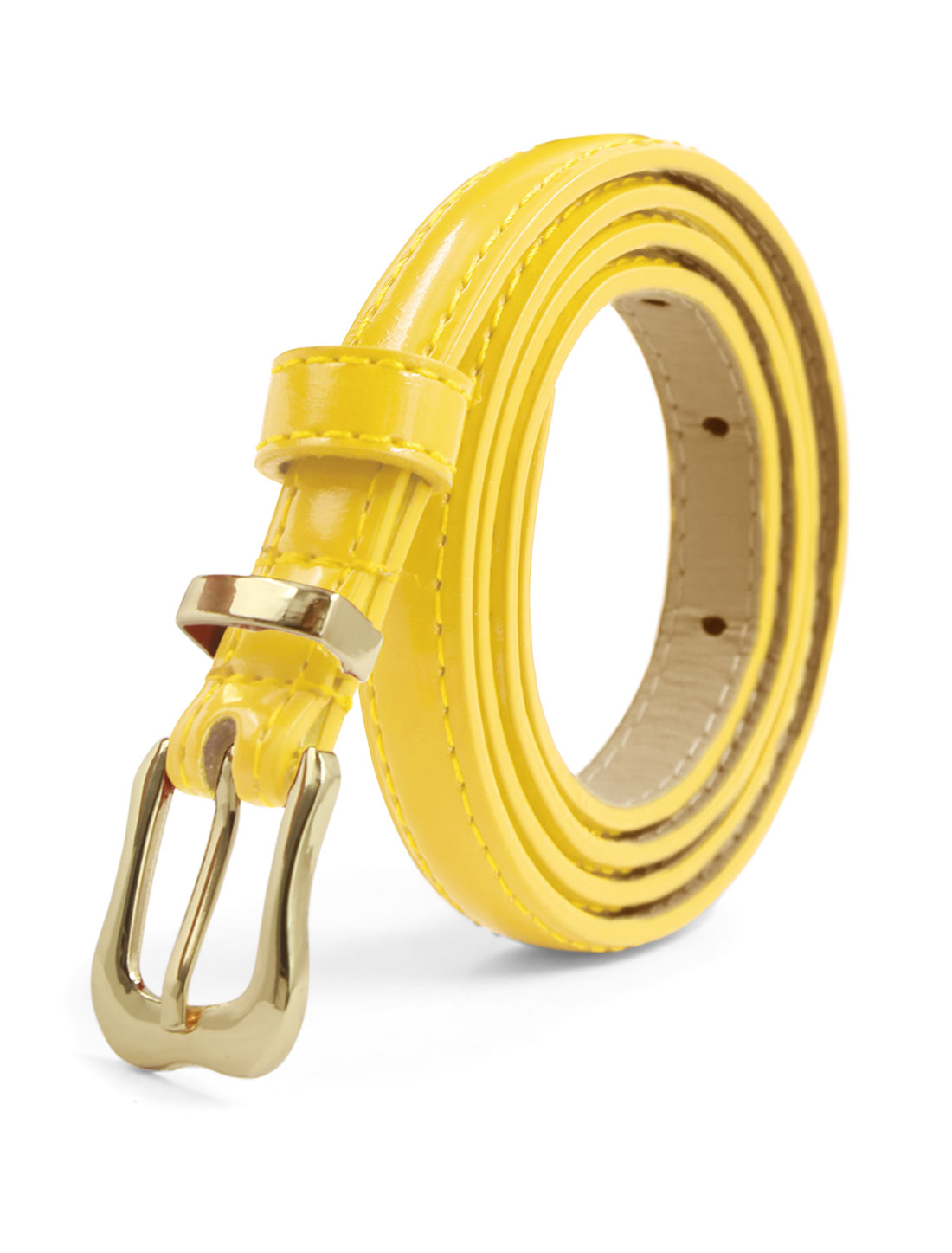 Ladies Single Prong Buckle Skinny Patent PU Belt Yellow