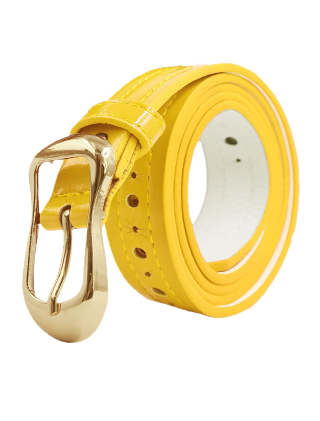 Women Decorative Stitch Hollow Out PU Waist Belt Yellow