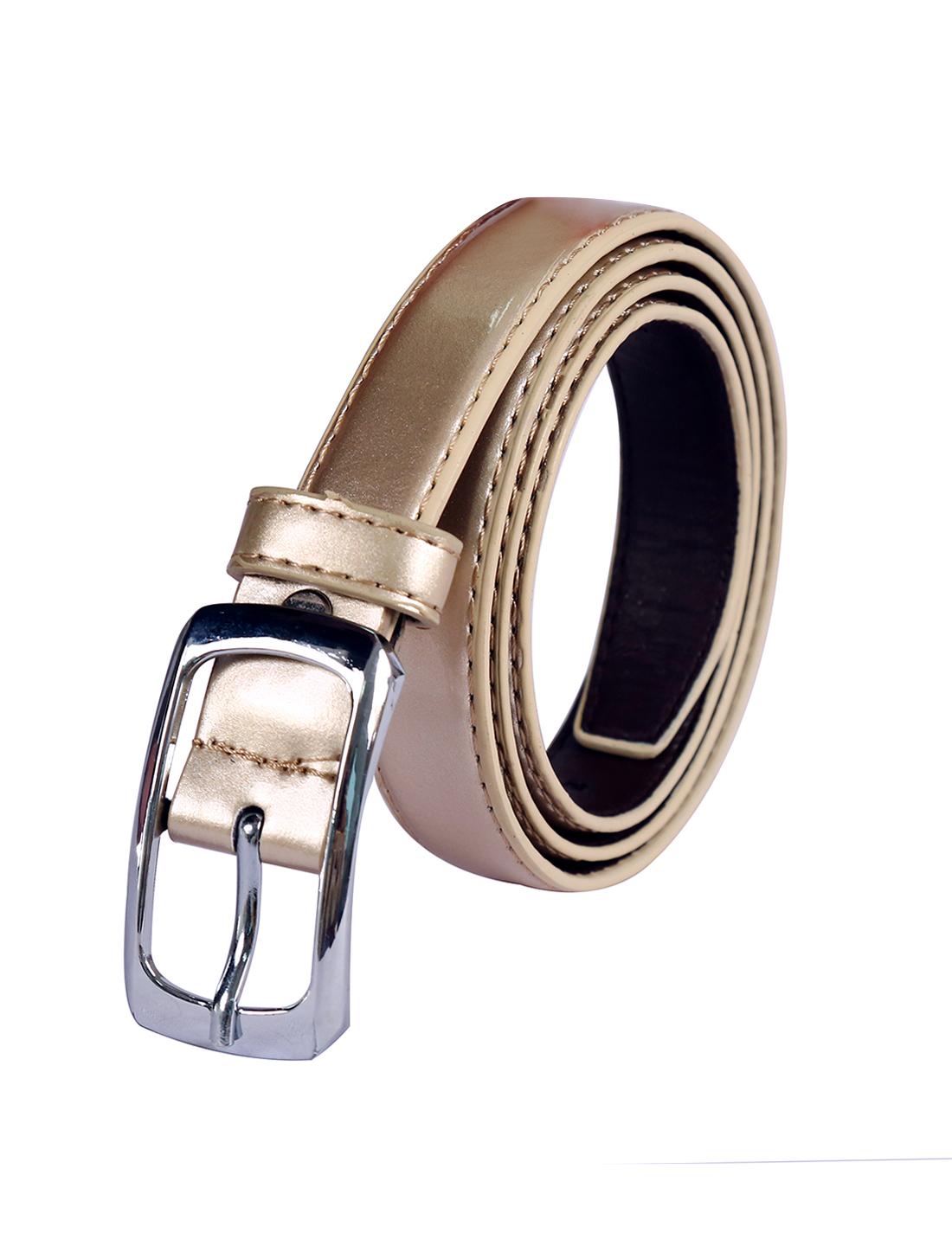 Women Single Pin Buckle Adjustable Patent PU Belt Gold