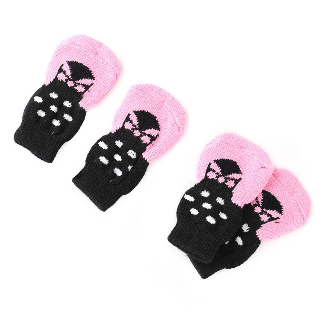 Outdoor Walking Acrylic Paw Pattern Pet Puppy Dog Anti-slip Socks 2 Pair