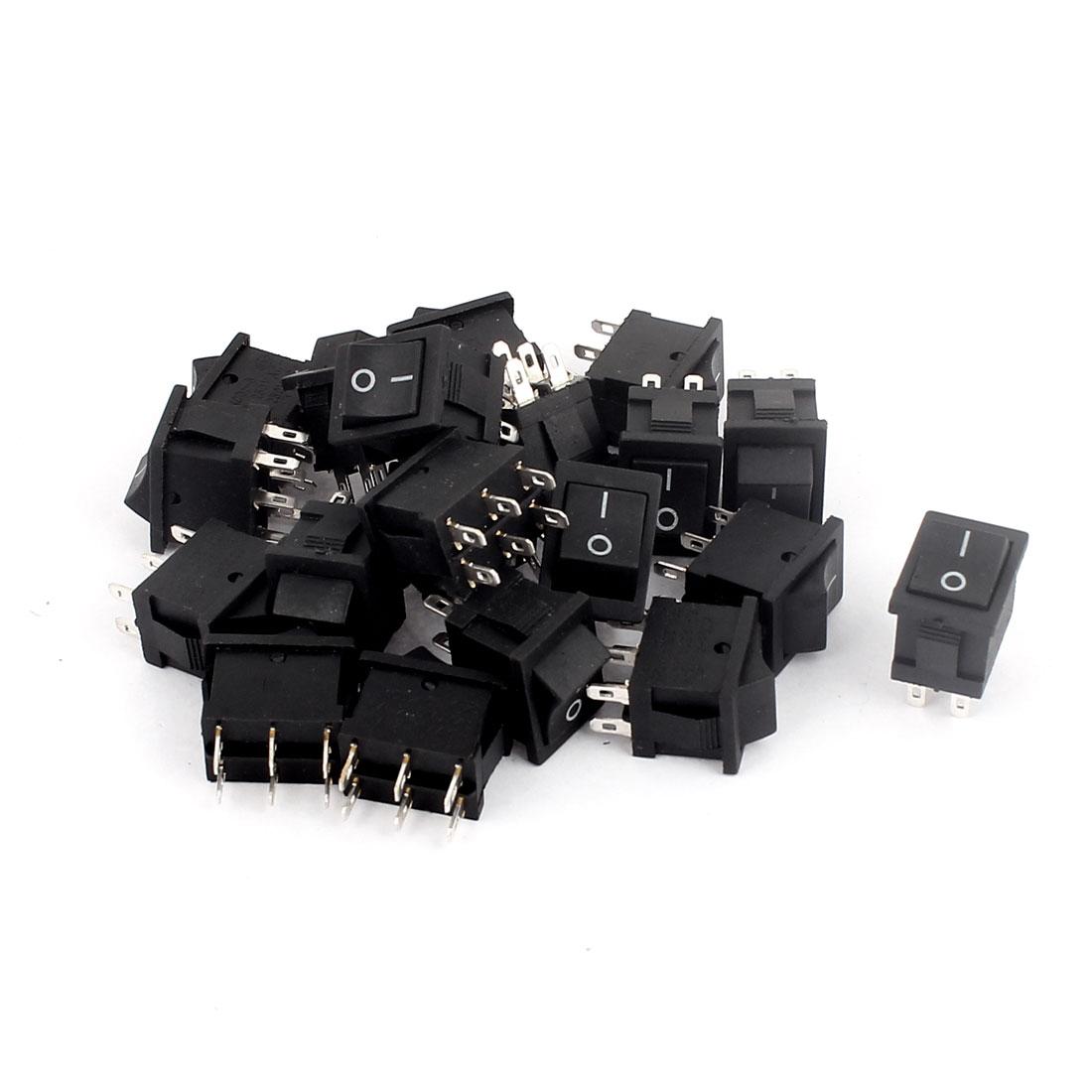 20pcs AC 6A/250V 10A/125V 6 Pin DPDT ON/ON 2 Position Self-locking Boat Rocker Switch