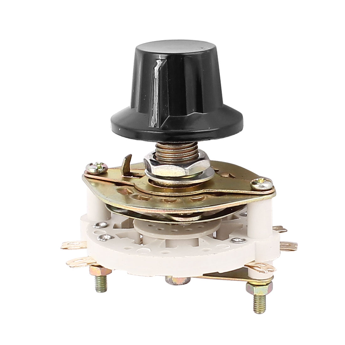 KCT 2 Pole 2 Throw 6mm Shaft Band Channel Rotary Switch Selector w Cap