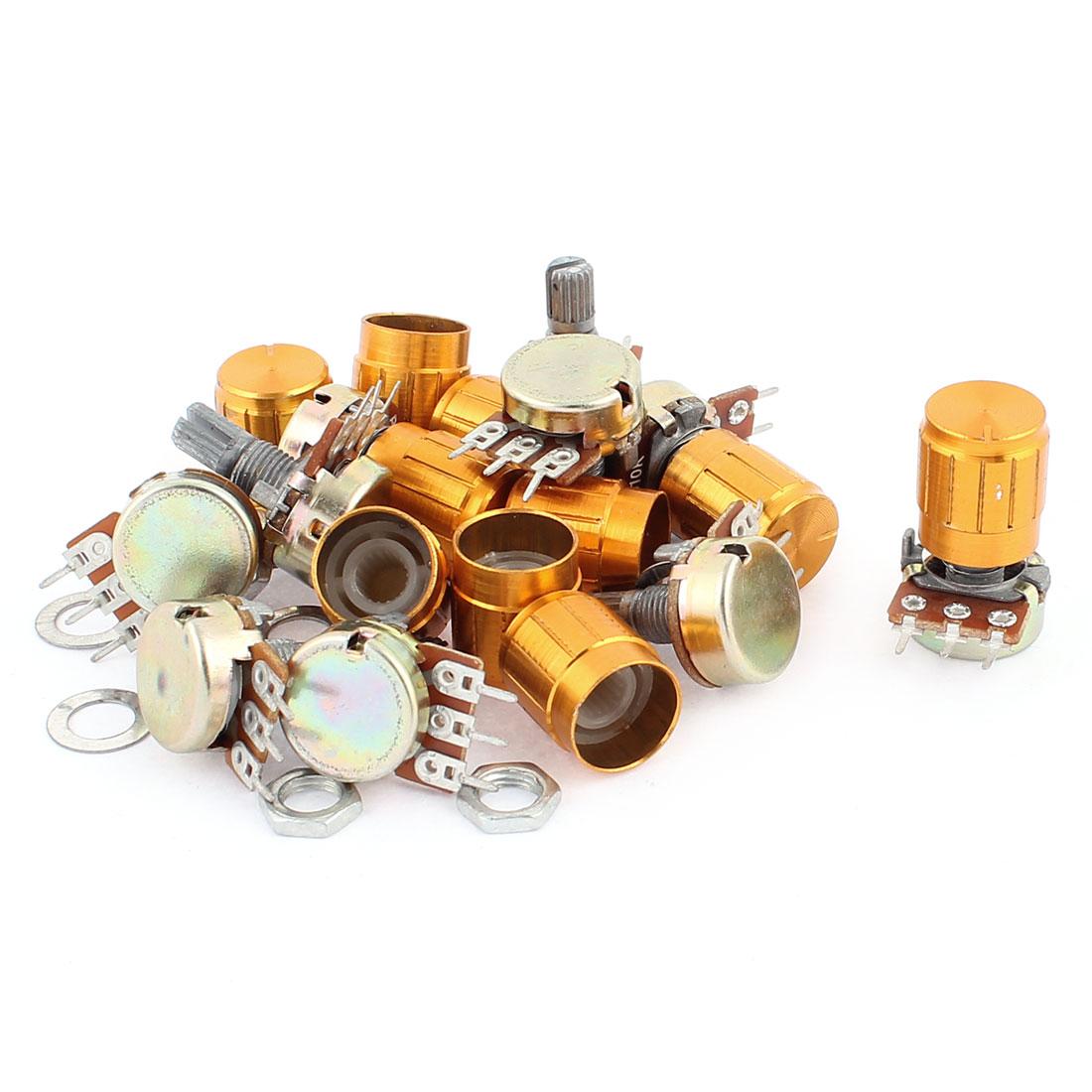 10Pcs B10K 15mm Knurled Shaft Single Linear Rotary Taper Potentiometers w Knob