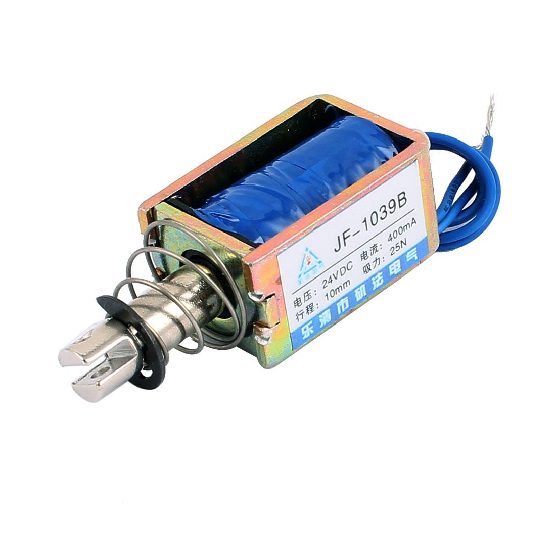 JF-1039B DC 24V 400mA 10mm 25N Push Pull Type DIY DC Solenoid Electromagnet Magnet
