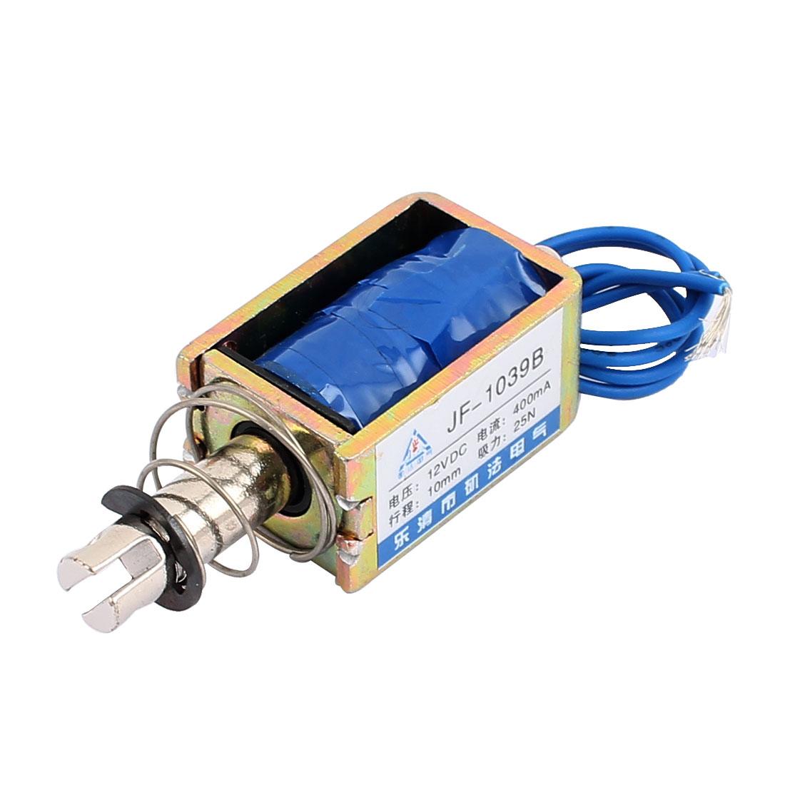 JF-1039B DC12V 400mA 10mm 25N Push Pull Type DIY DC Solenoid Electromagnet Magnet