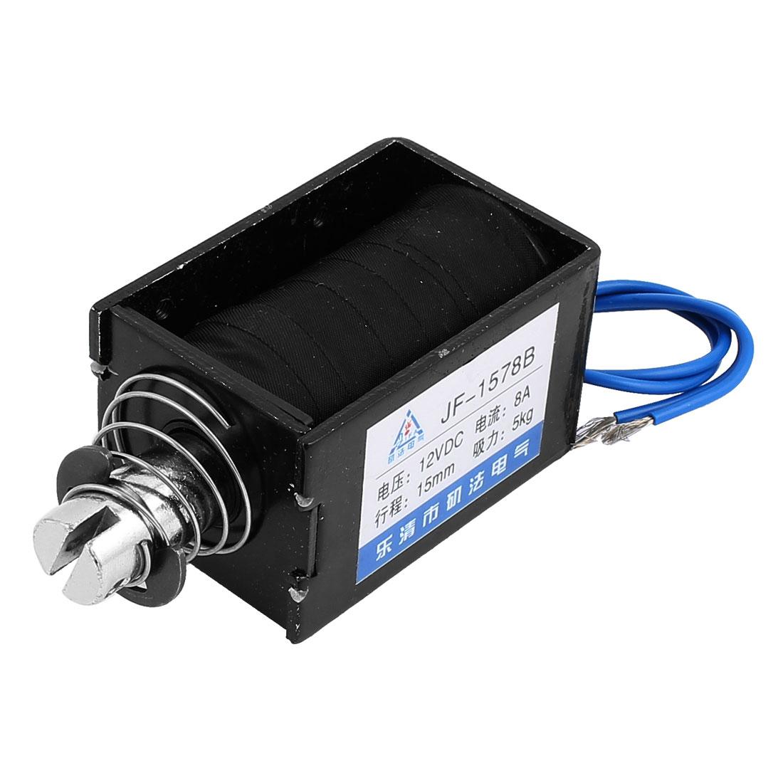 JF-1578B DC12V 8A 15mm 5Kg Push Pull Type DIY DC Solenoid Electromagnet Magnet