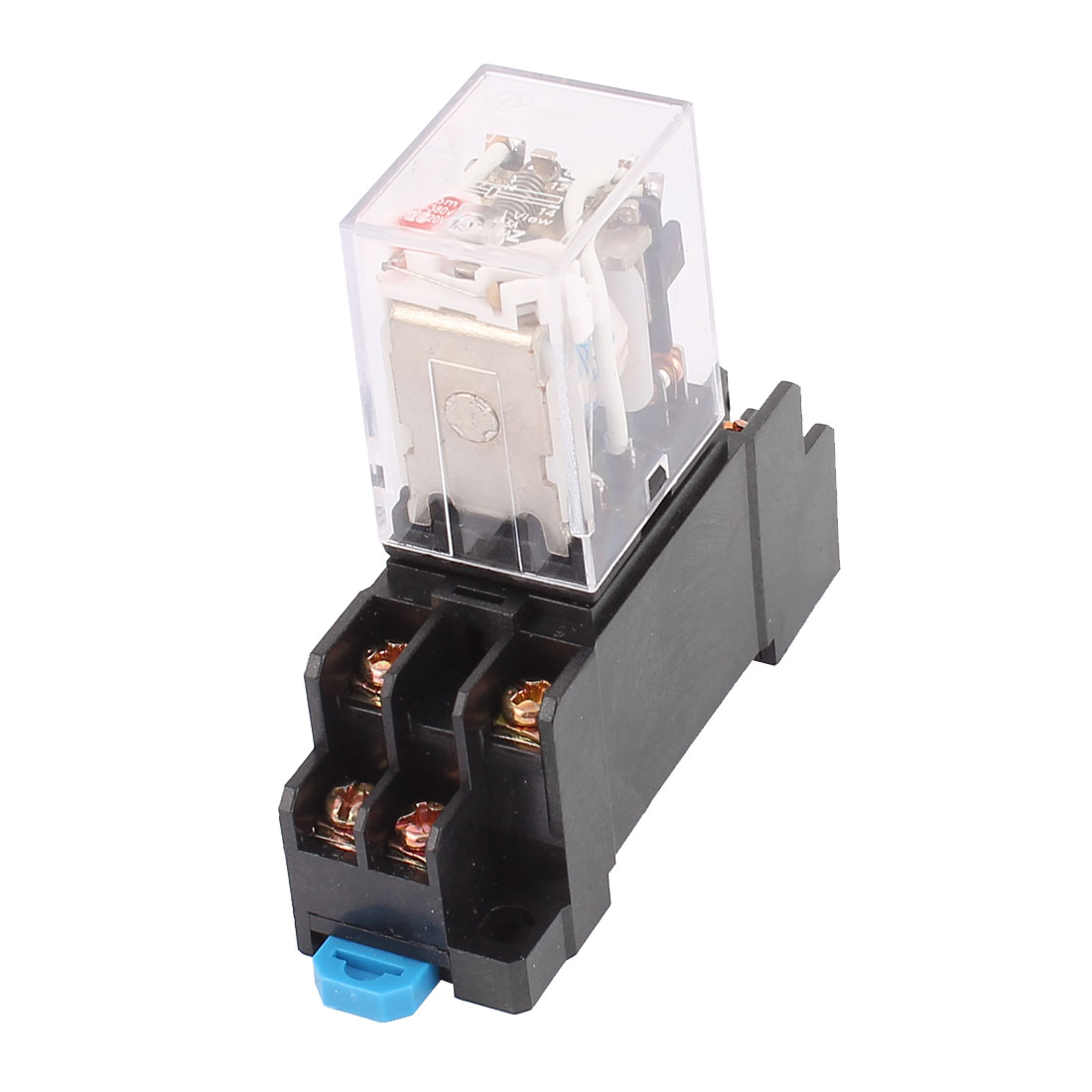 HH52P-L AC 24V Coil 8 Screw Terminals 35mm DIN Rail Red LED Pilot Light Power Relay w Socket