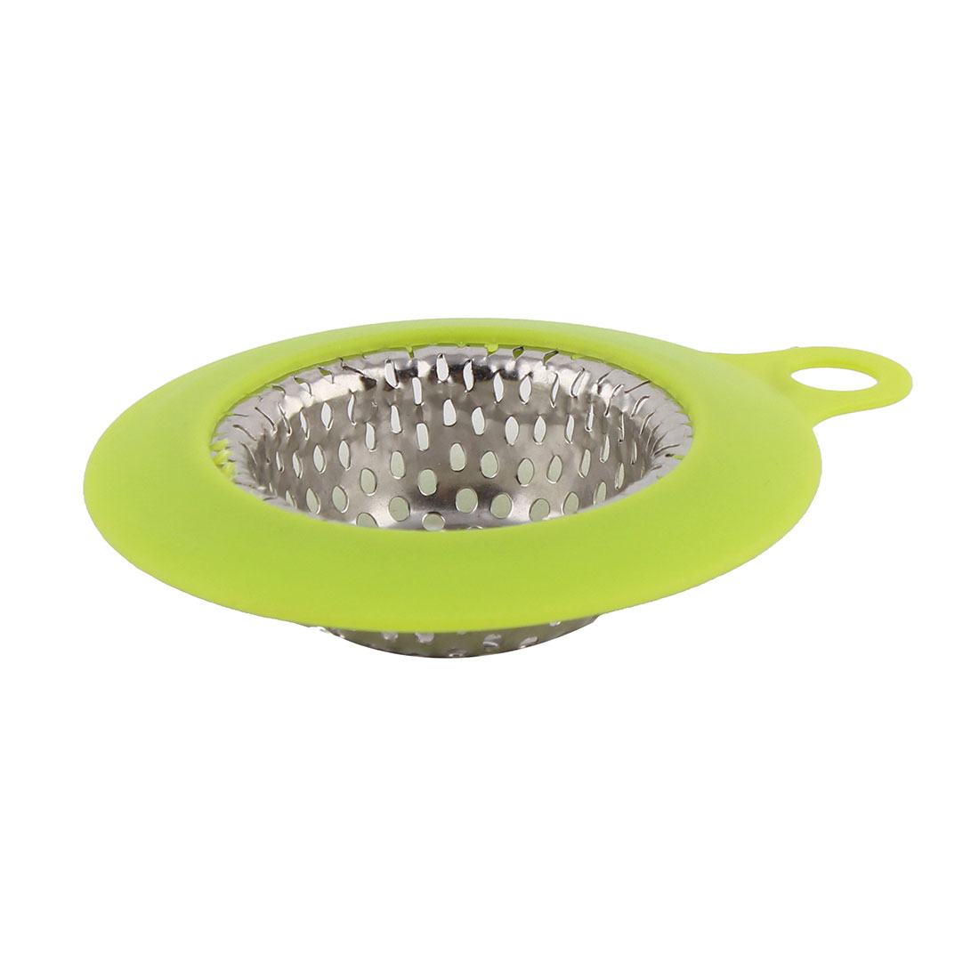 Home Stainless Steel Round Nonslip Garbage Sink Strainer Light Green 10.8cm Dia