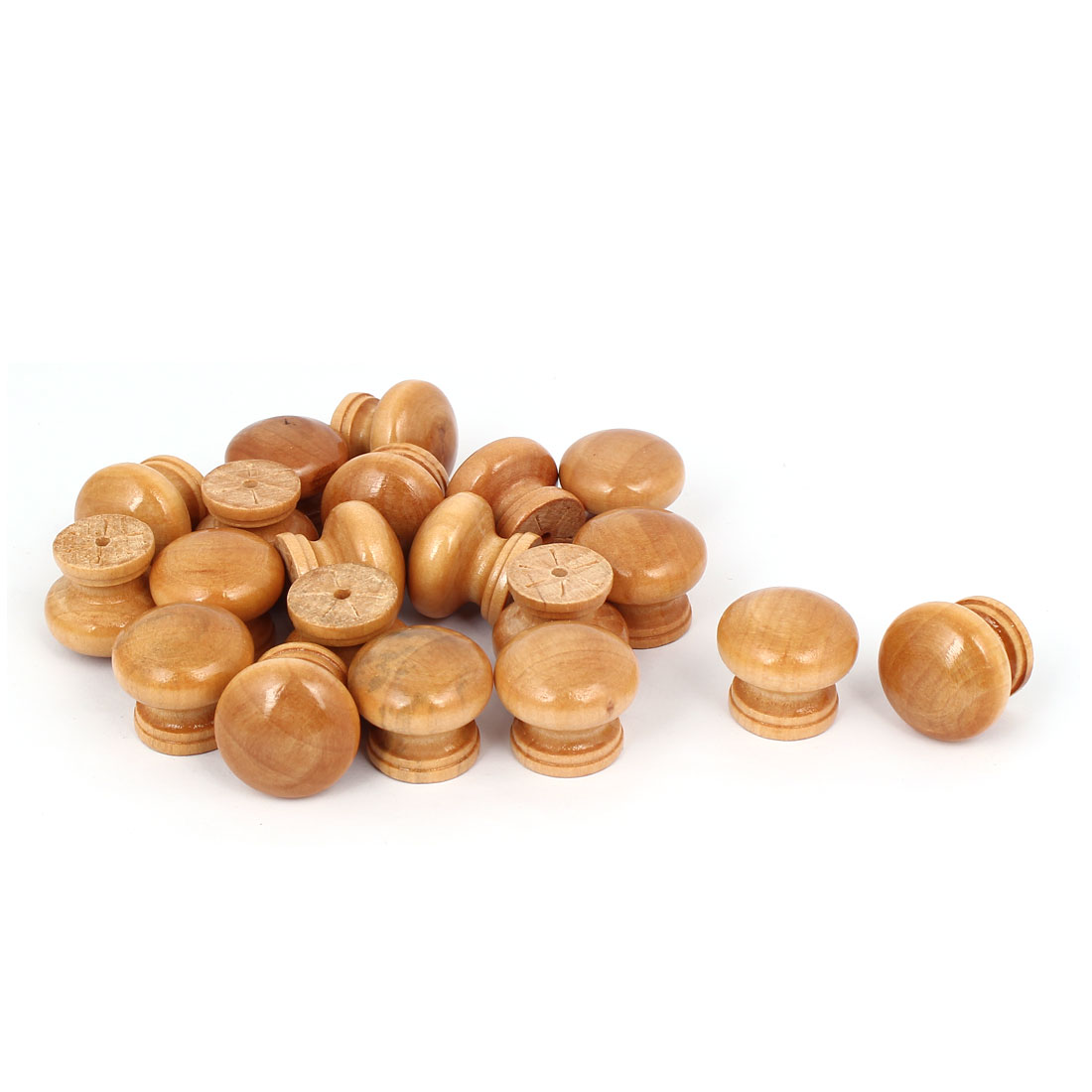 Cabinet Drawer Dresser Wood Round Shape Screw Mounted Pull Knob 25mm Dia 20pcs