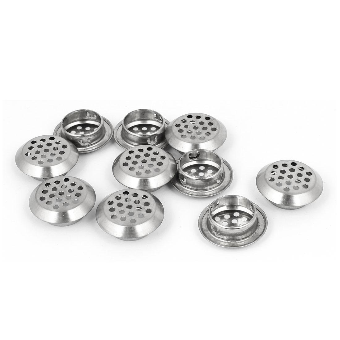 Kitchen Metal Round Shape Mesh Hole Beveled Air Vent Louver 25mm Dia 10pcs