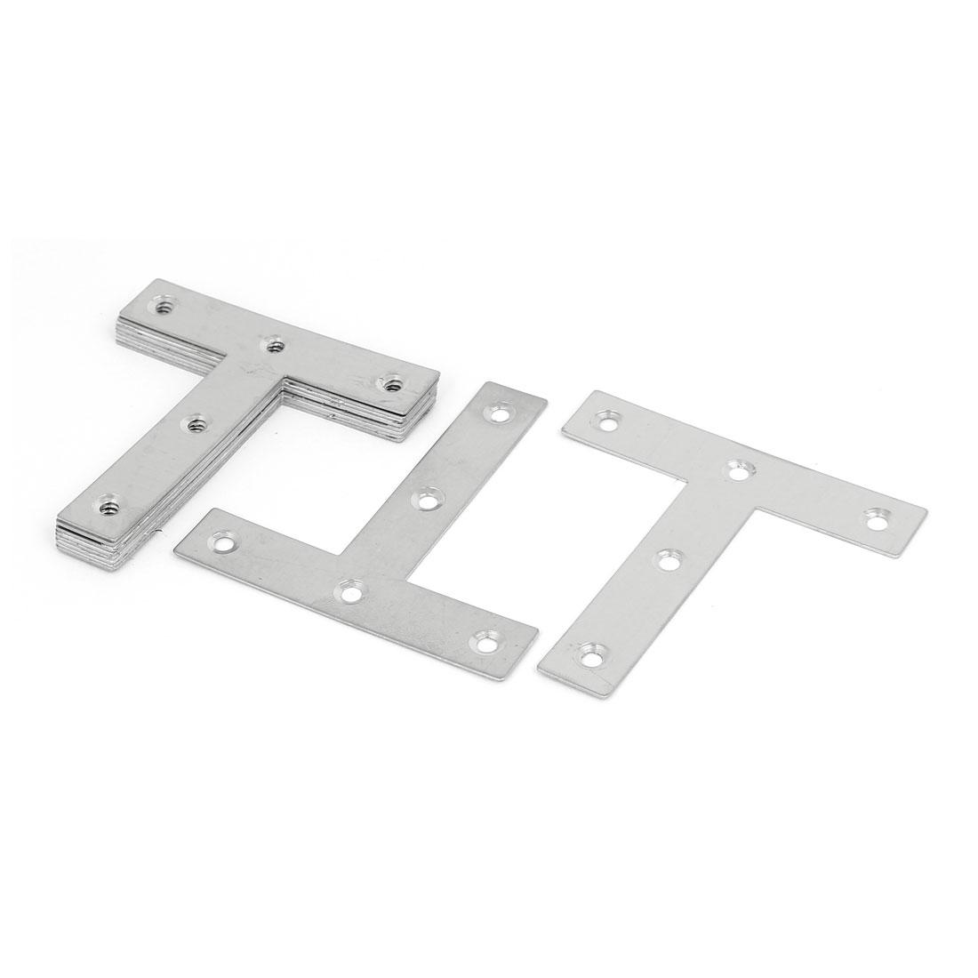 80mmx80mm T Shape Flat Fixing Plate Corner Brace Angle Bracket Silver Tone 10pcs
