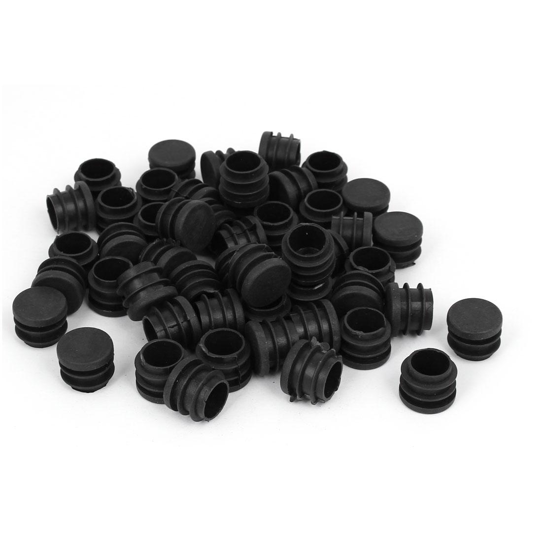 19mm Dia Plastic Blanking End Cap Round Ribbed Tube Insert Black 50pcs