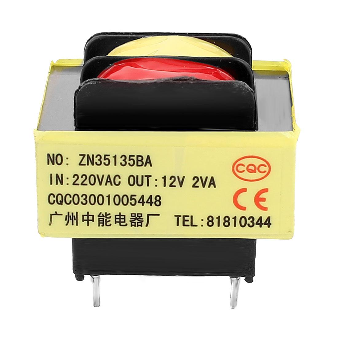 220V Input 12V 2VA Output Yellow Red Ferrite Core Power Transformer w 5 Terminals
