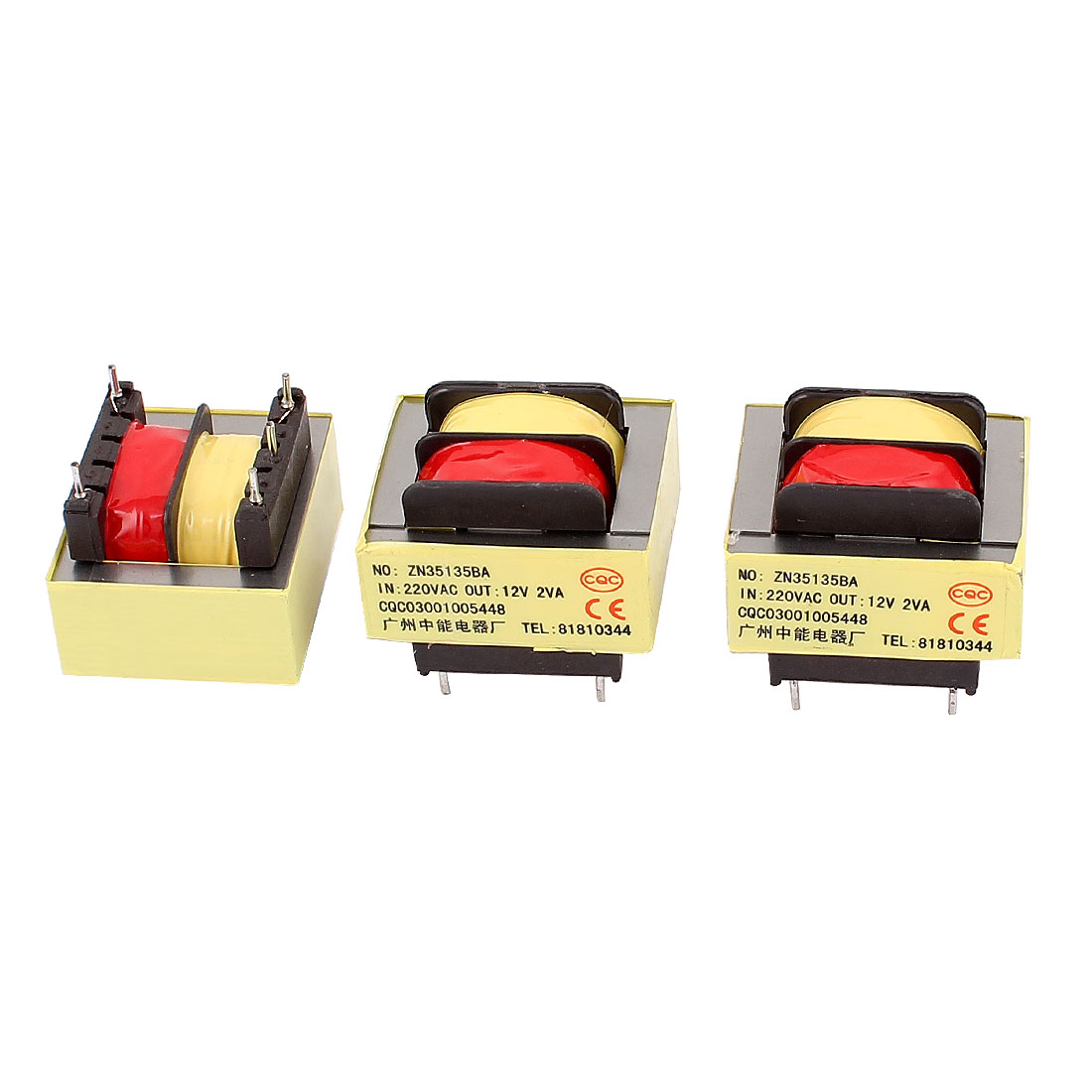 3Pcs 220V Input 12V 2VA Output Yellow Red Ferrite Core Power Transformer w 5 Terminals