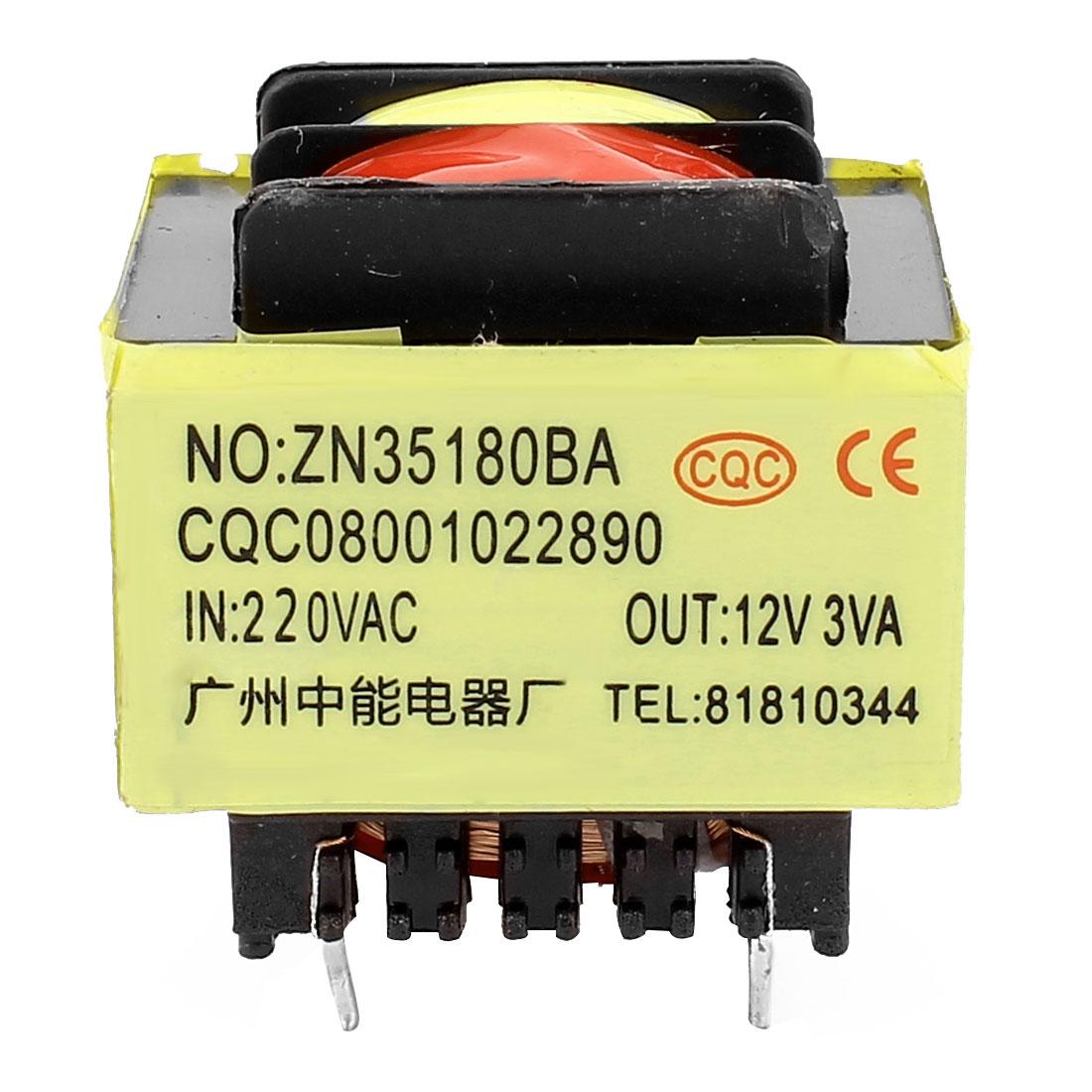 220V Input 12V 3VA Output Yellow Red 5 Terminals Power Transformer 36x31x31mm