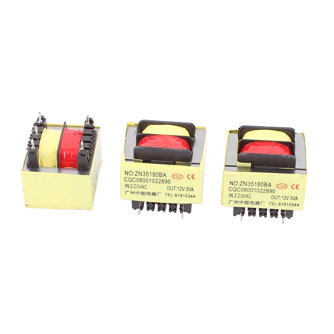 3Pcs 220V Input 12V 3VA Output Yellow Red 5-Terminal Power Transformer 36x31x31mm